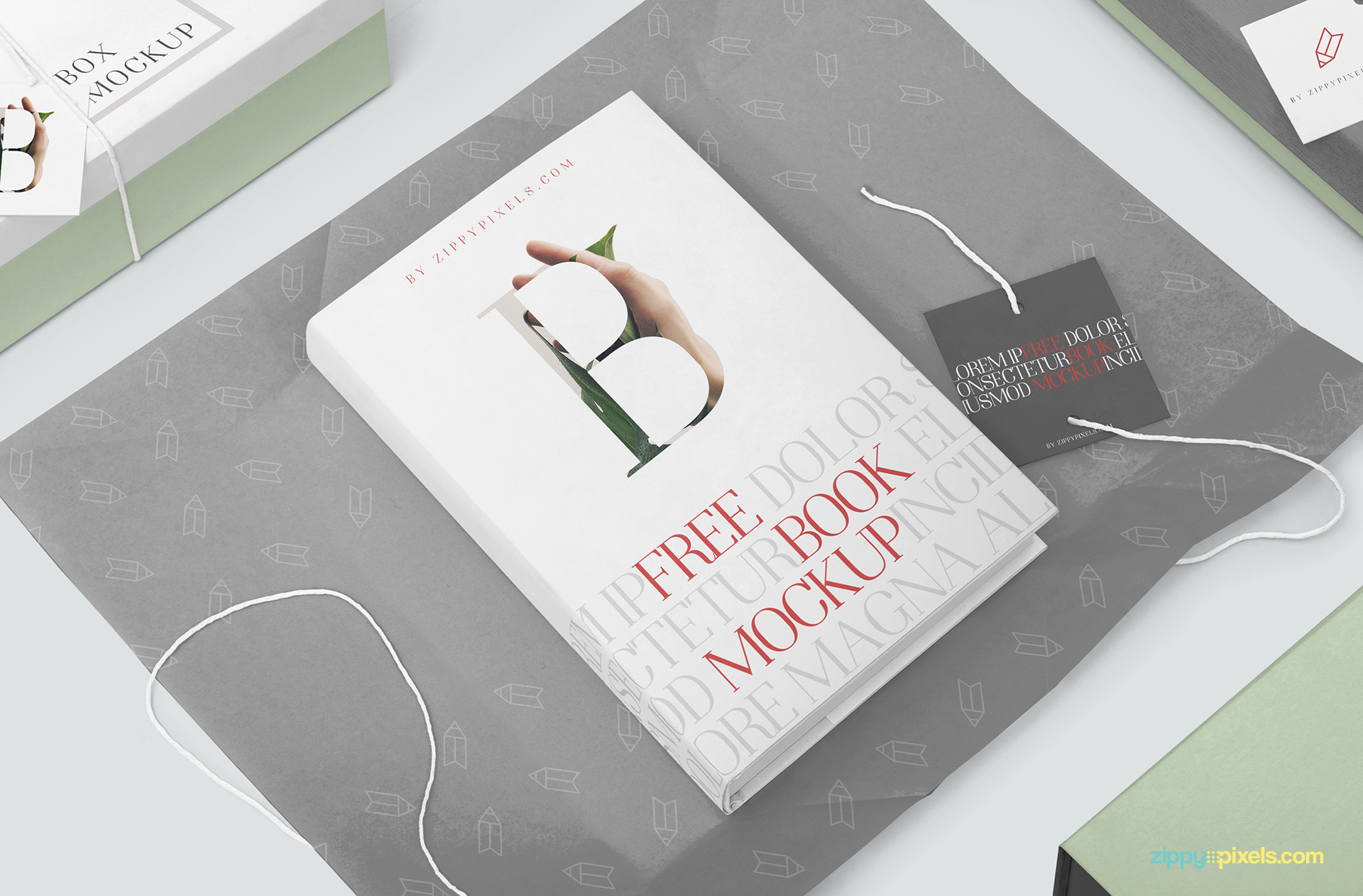 Free book mockup placed on a wrapping paper.