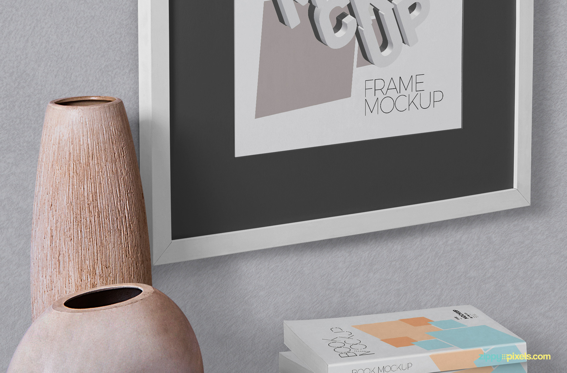 Customizable books mockup and vase.