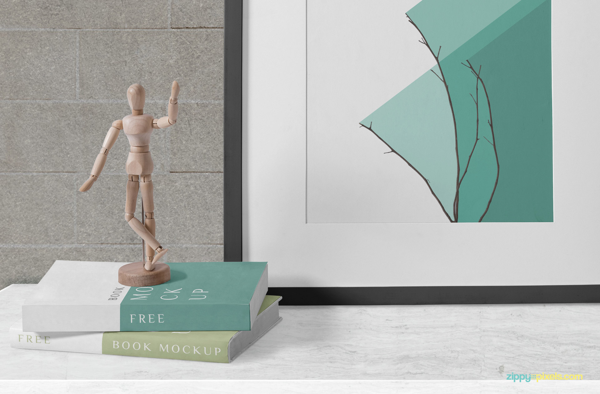 Statue placed on the books mockup.