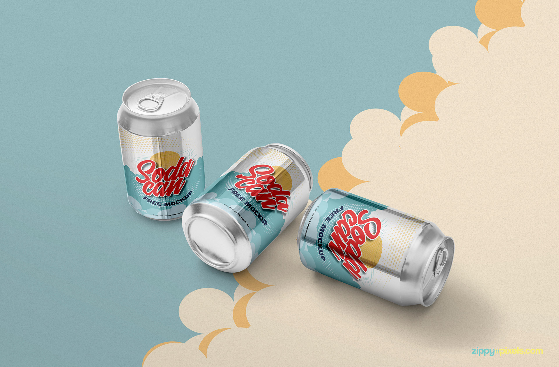 Soft drink can mockup free PSD.