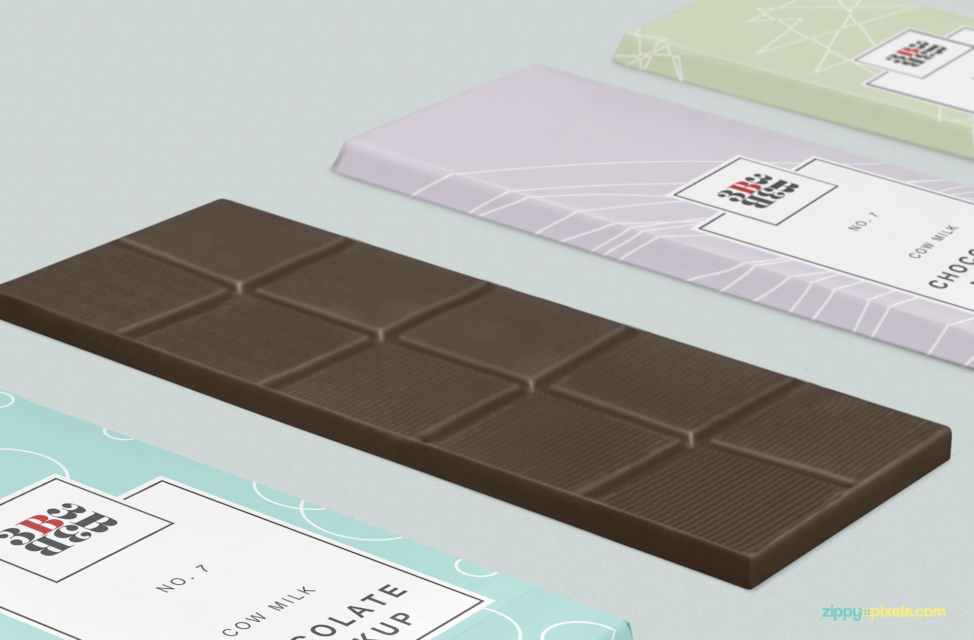 Chocolate bar mockup with color option.