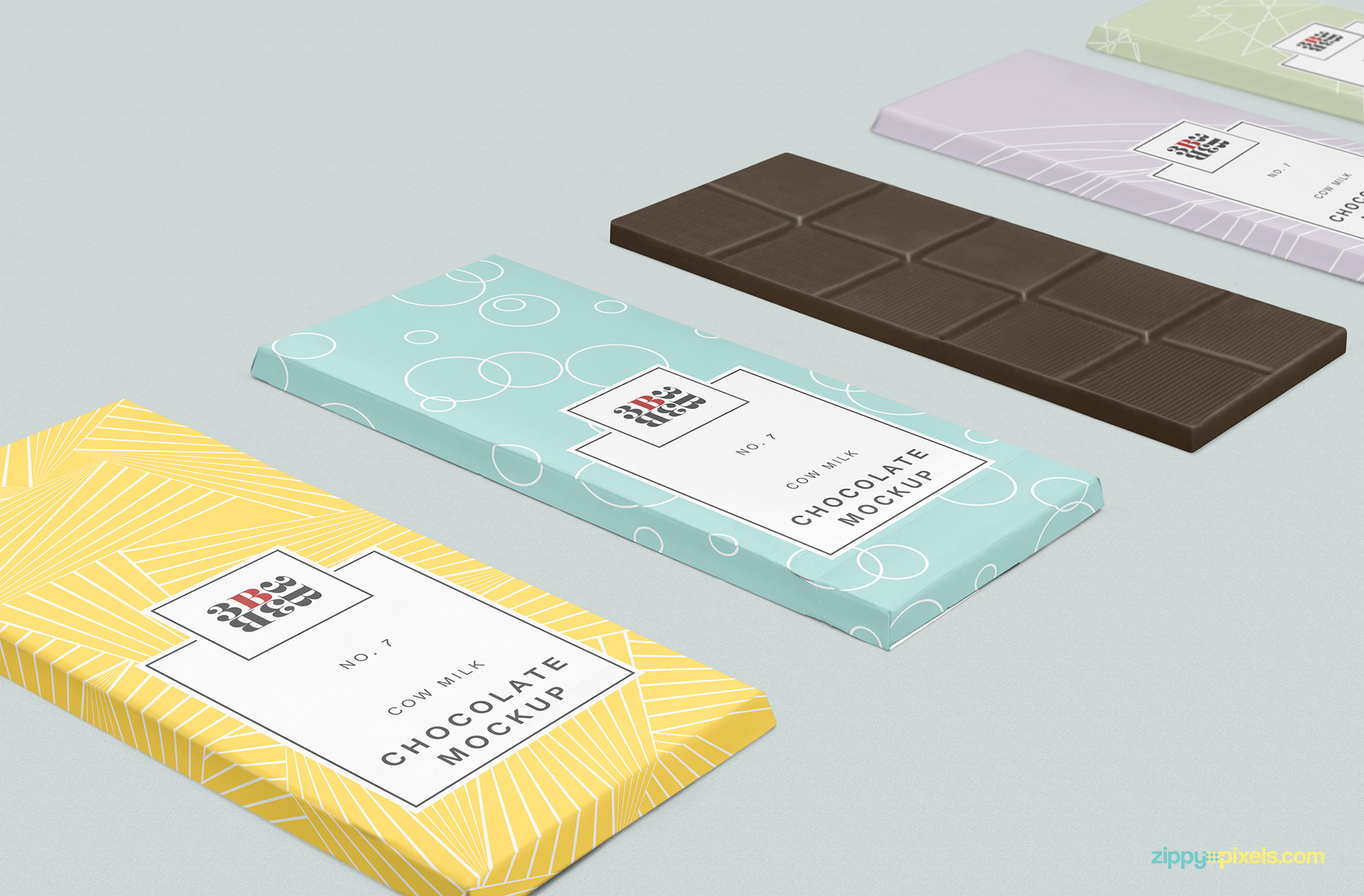 Chocolate mockup offers arrangement of 4 packaging and a chocolate bar.