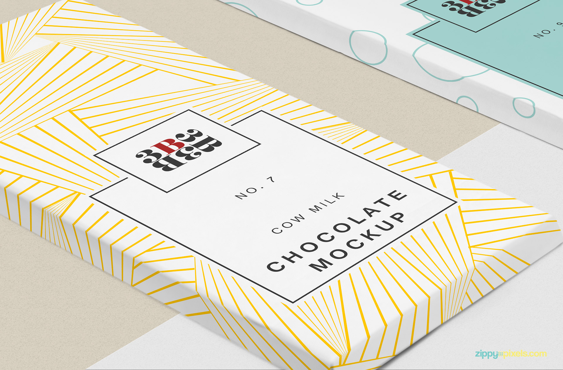 Zoom in view of chocolate packaging mockup.