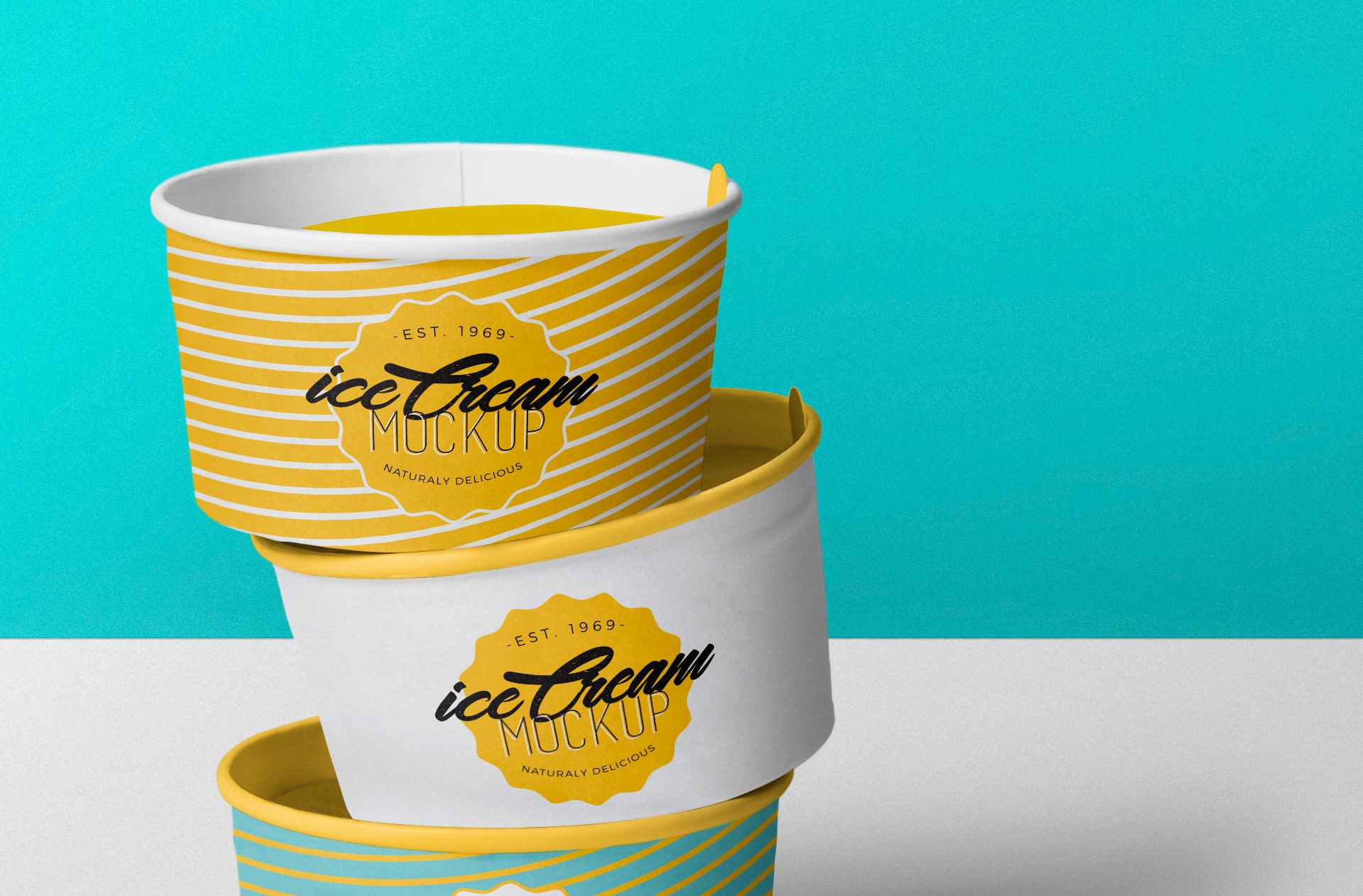 Zoom in view of the cool ice cream cup mockup.