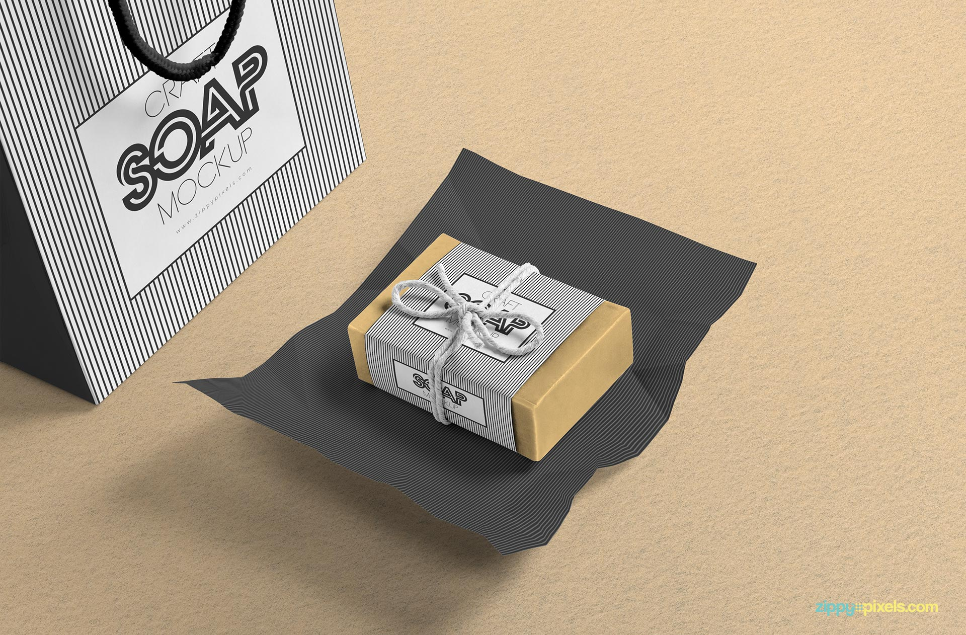 Free craft soap bar mockup.