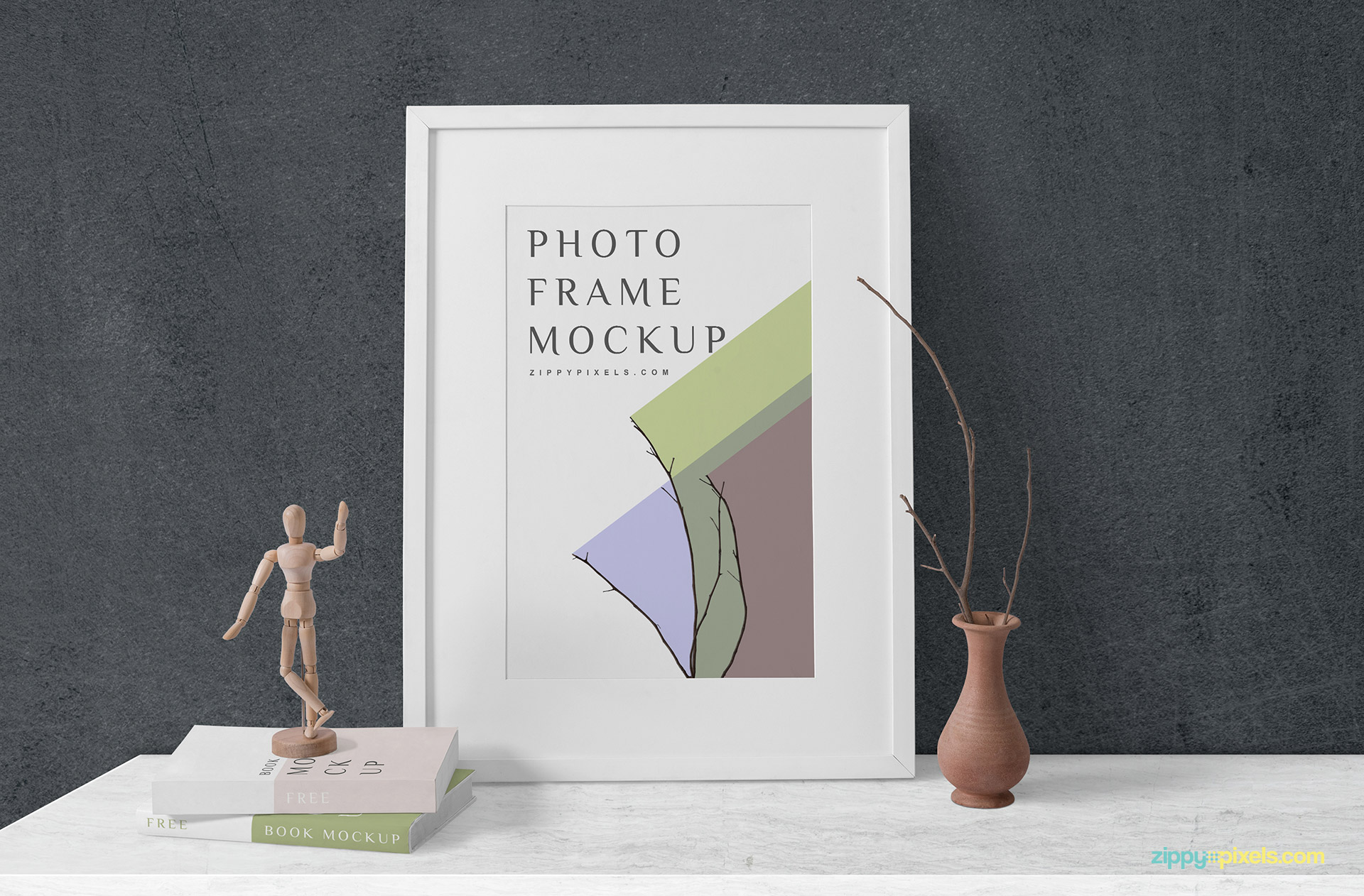 Adjust the background of the free frame mockup as per your needs.