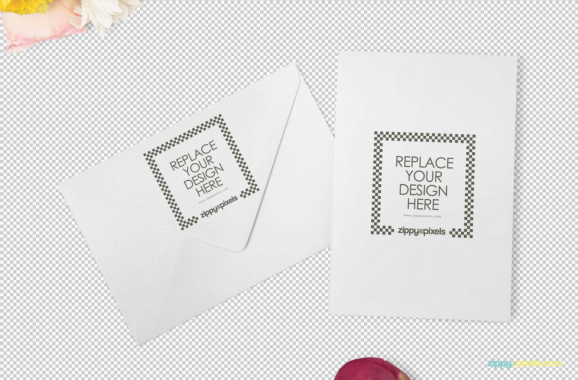 Customizable card and envelope showing replaceable design option.
