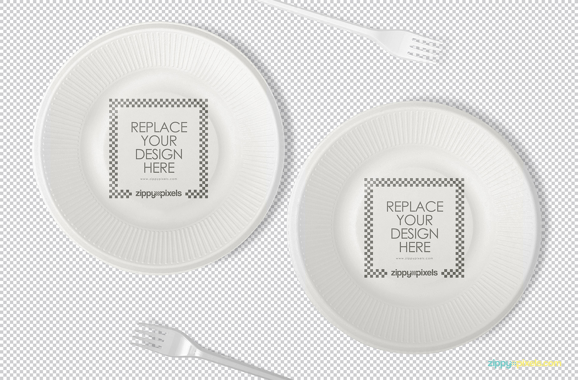 Disposable plate mockup with replaceable design option.