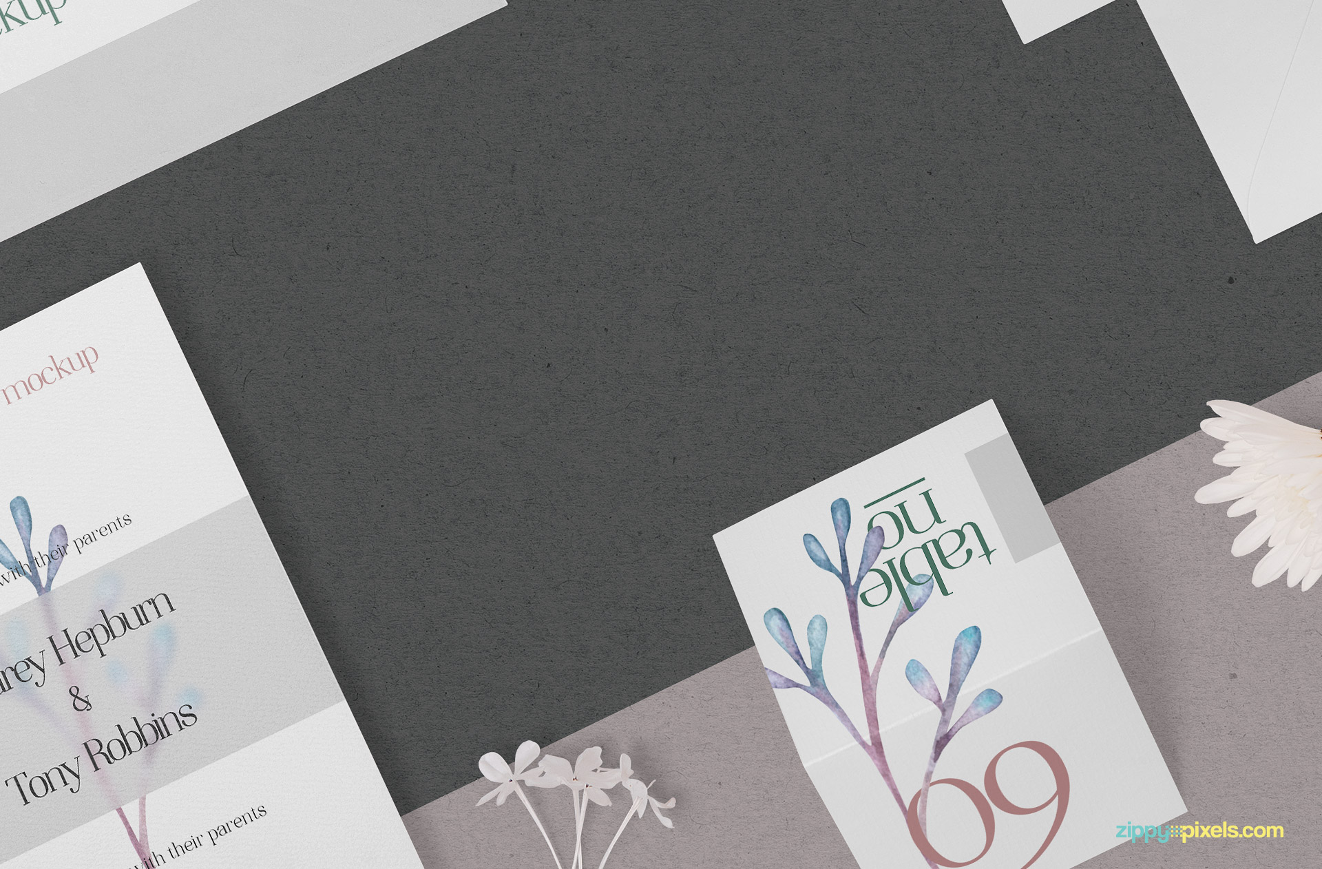 Edit the background of the wedding stationery mockup.