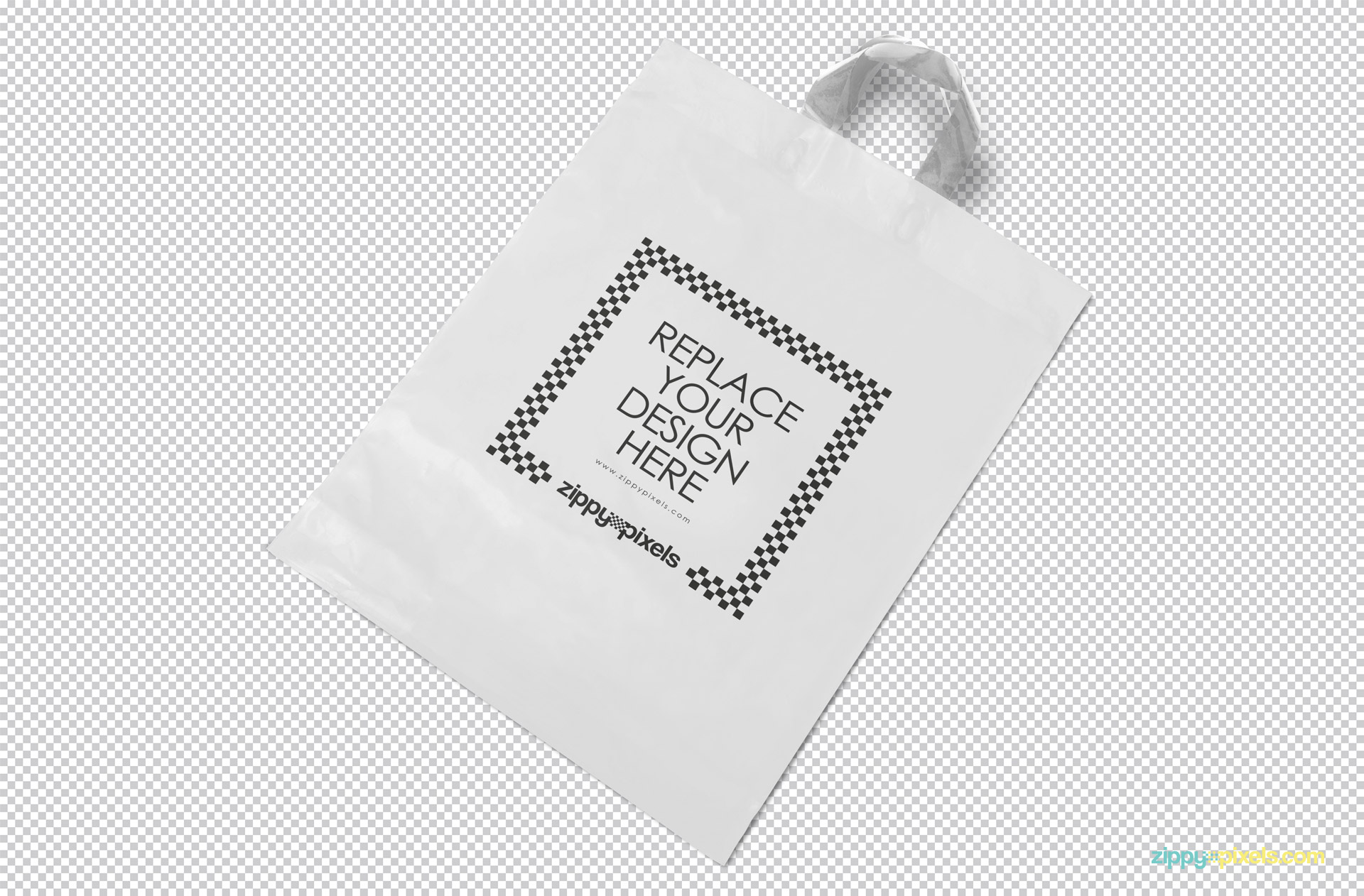 Editable shopping bag with design replacement option.