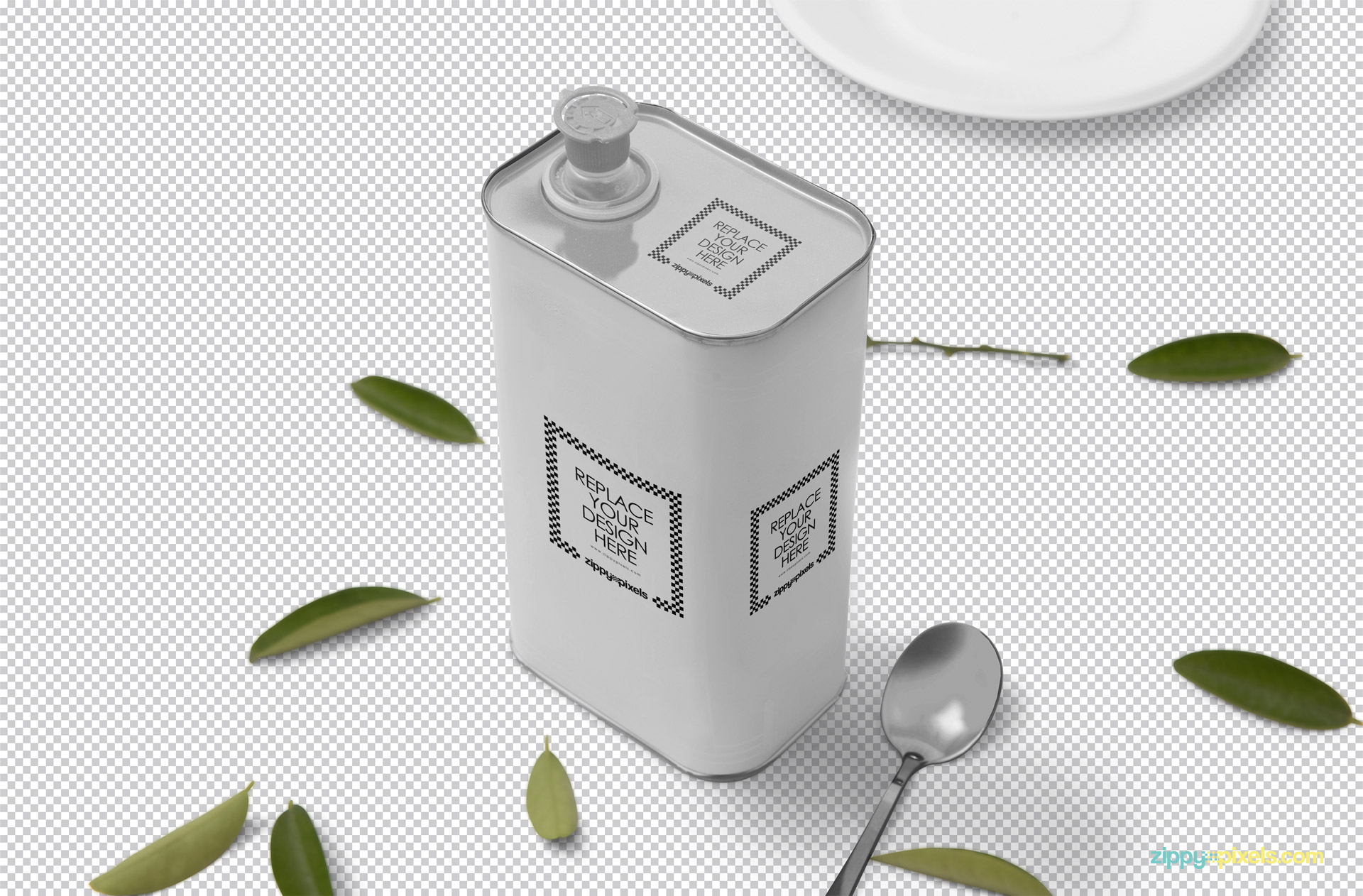 Editable PSD of tin can mockup showing replaceable design option.