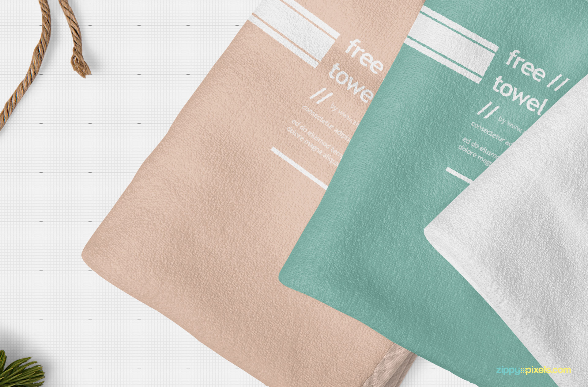 Finely arranged towel mockup.