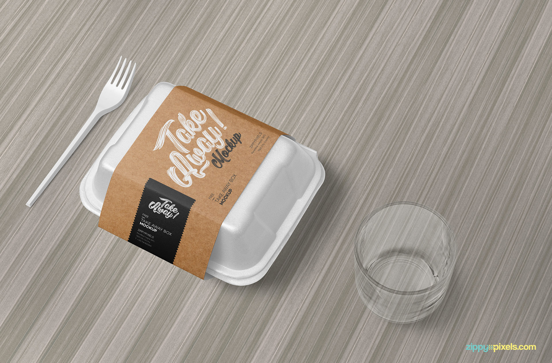 Food branding mockup place on wooden background.
