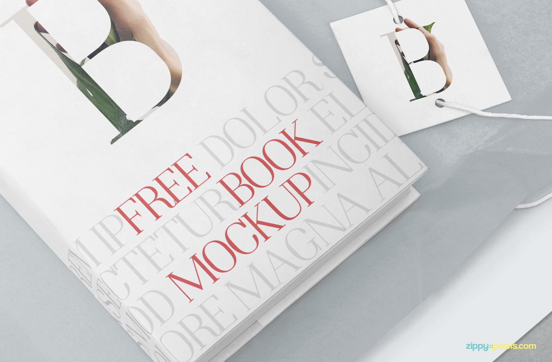 Zoom in view of the free hardcover mockup PSD.