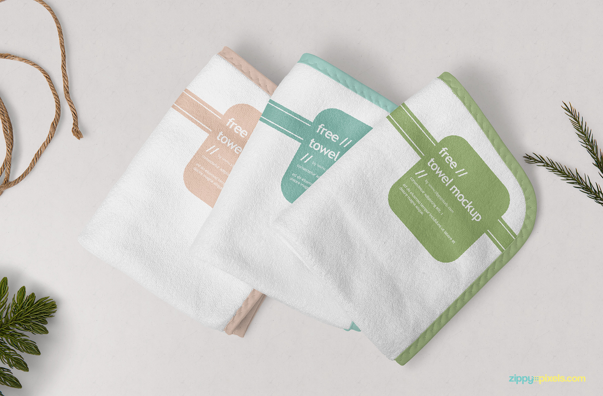 Free towel mockup set.