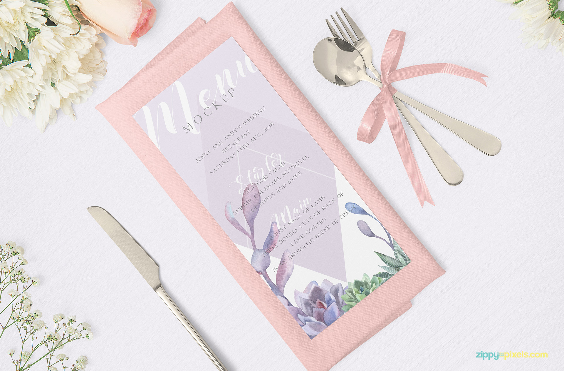 Gorgeous and attractive menu mockup scene.