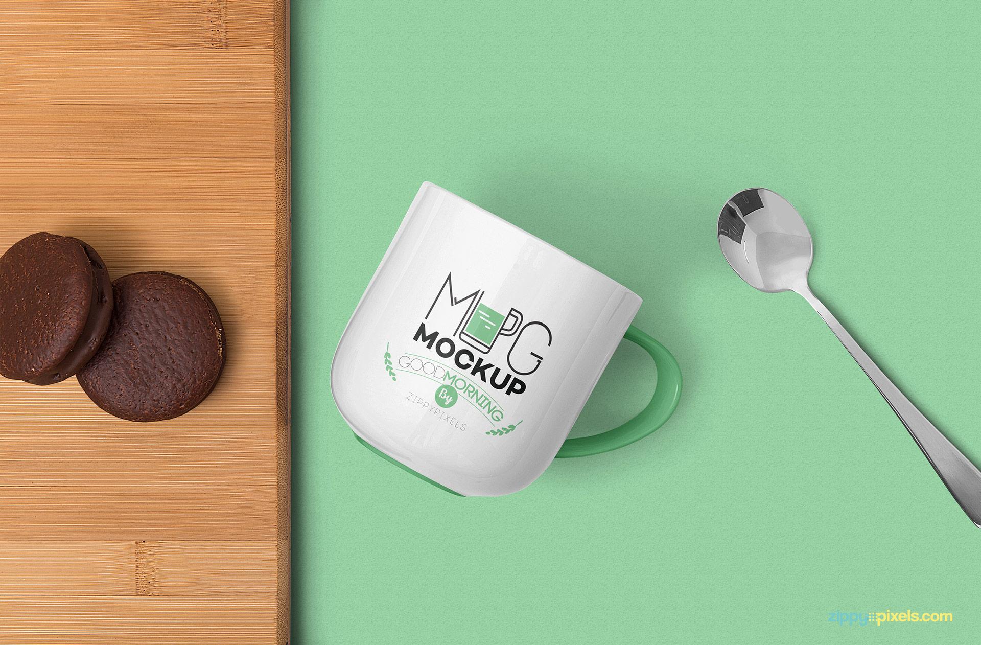 Gorgeous mug mockup free PSD scene.