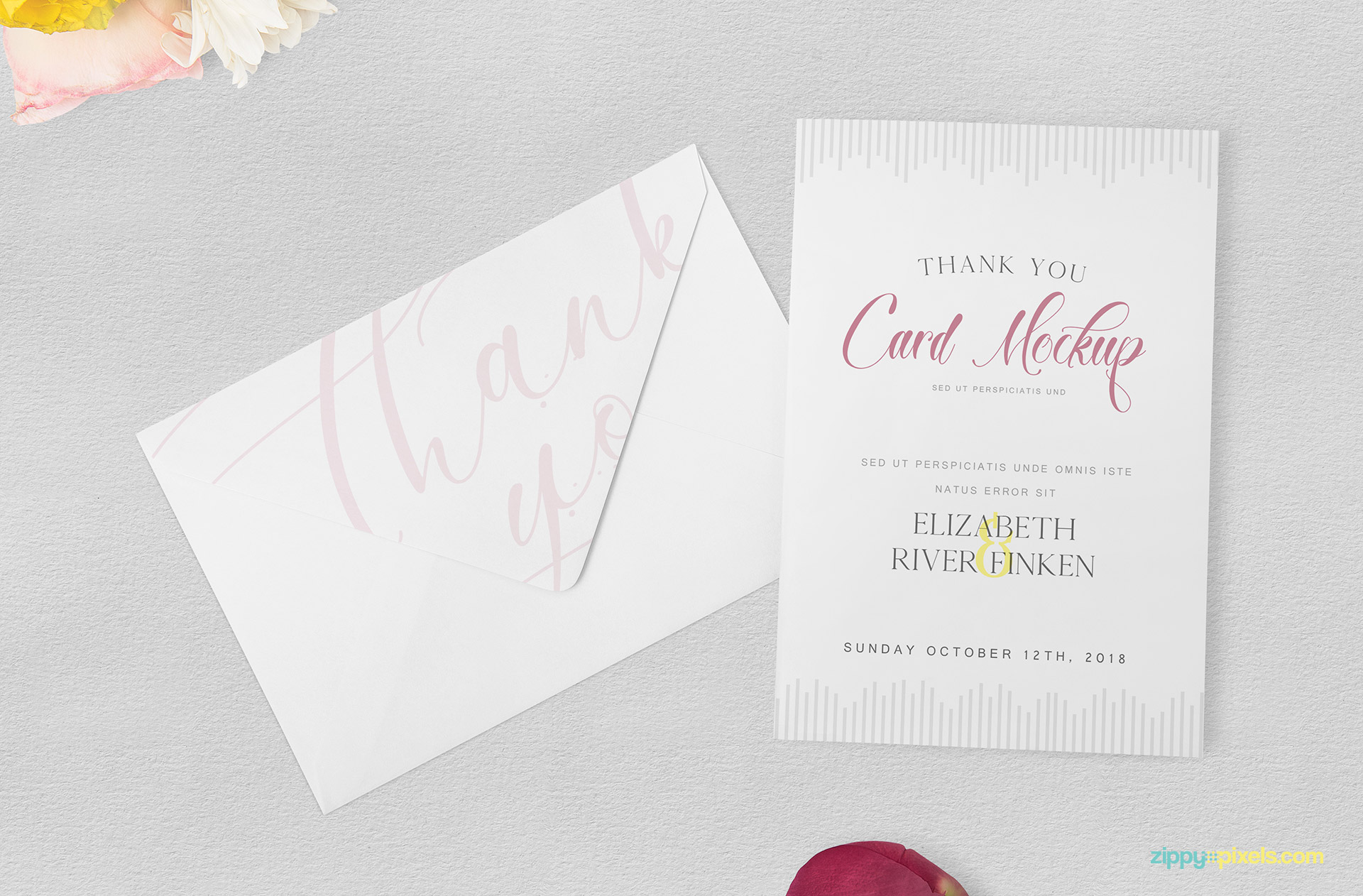 Graceful thank you card mockup.