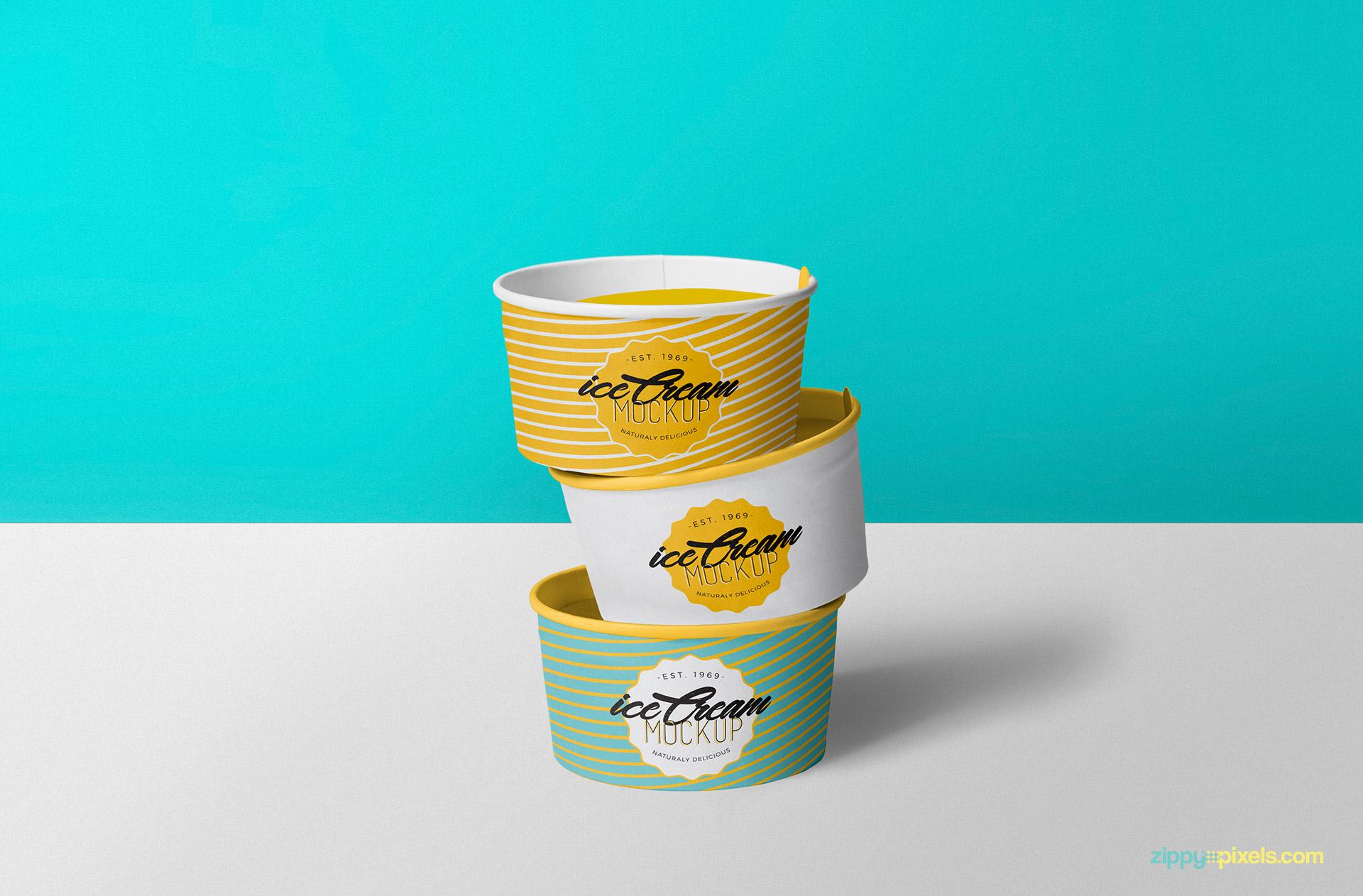 Free ice cream cup mockup.