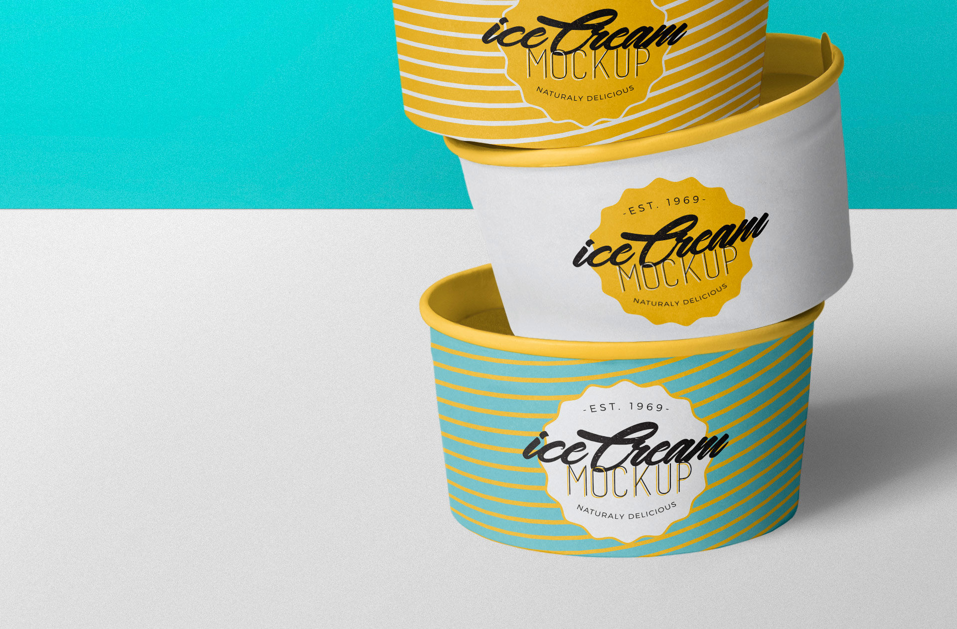 Separate smart object for ice cream cups and their lids.