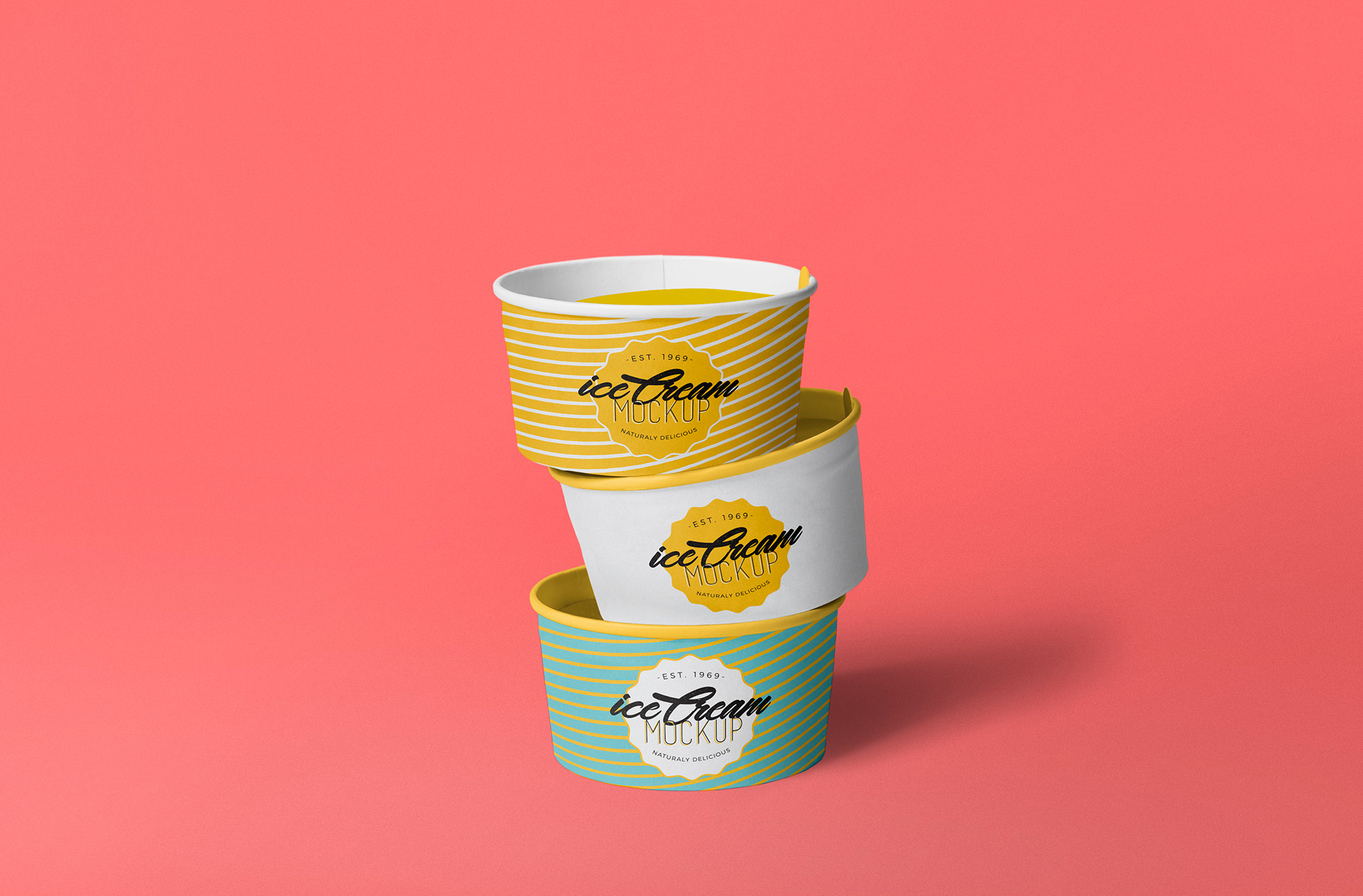 Three ice cream cups placed on one another.