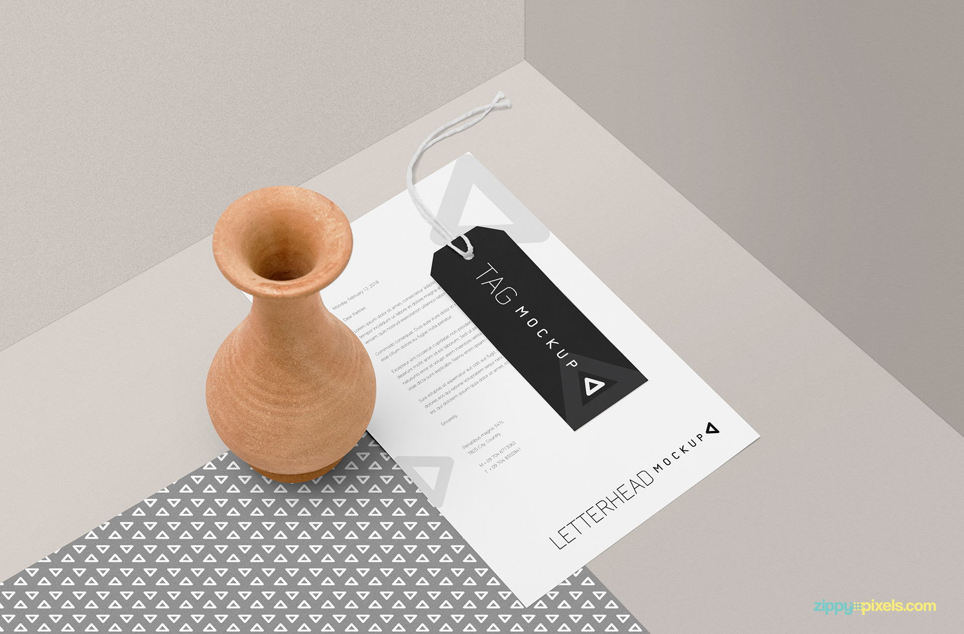 Letterhead mockup PSD free download.