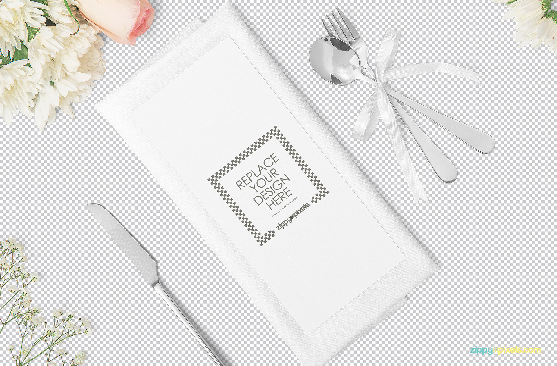 Plain menu card mockup scene showing replaceable design option.