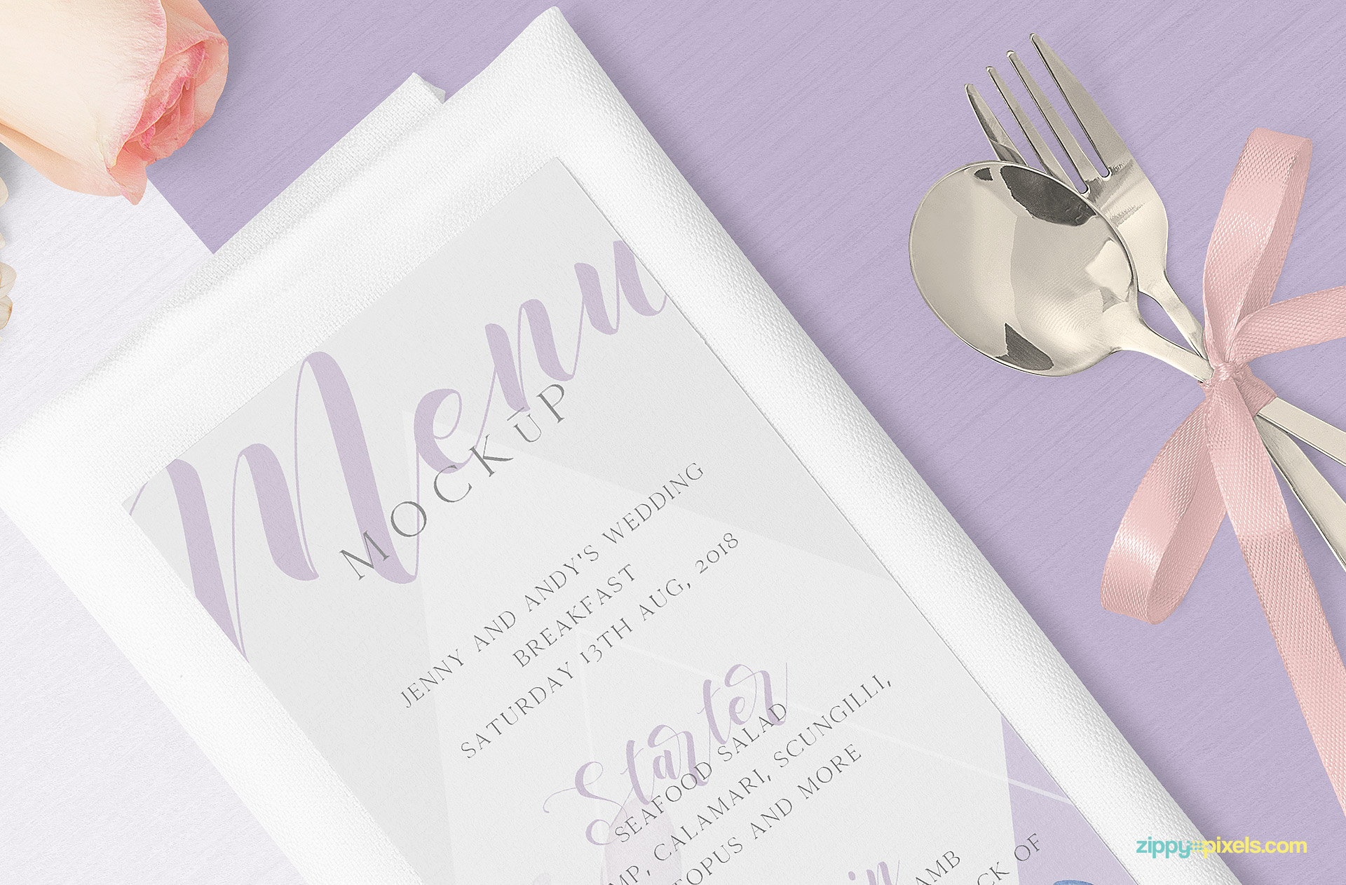 Single page menu mockup placed on napkin.
