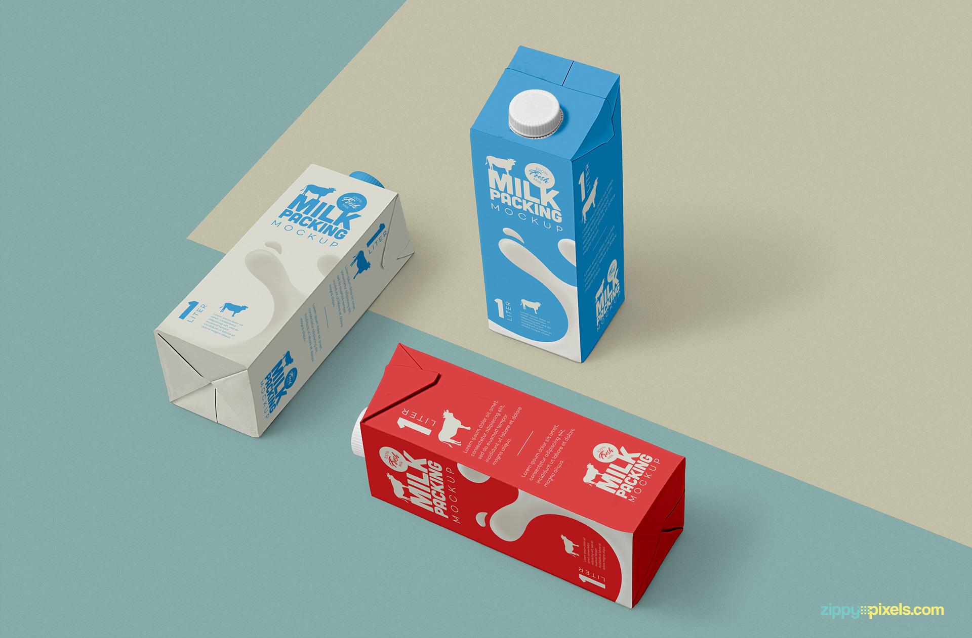Free milk carton mockup.