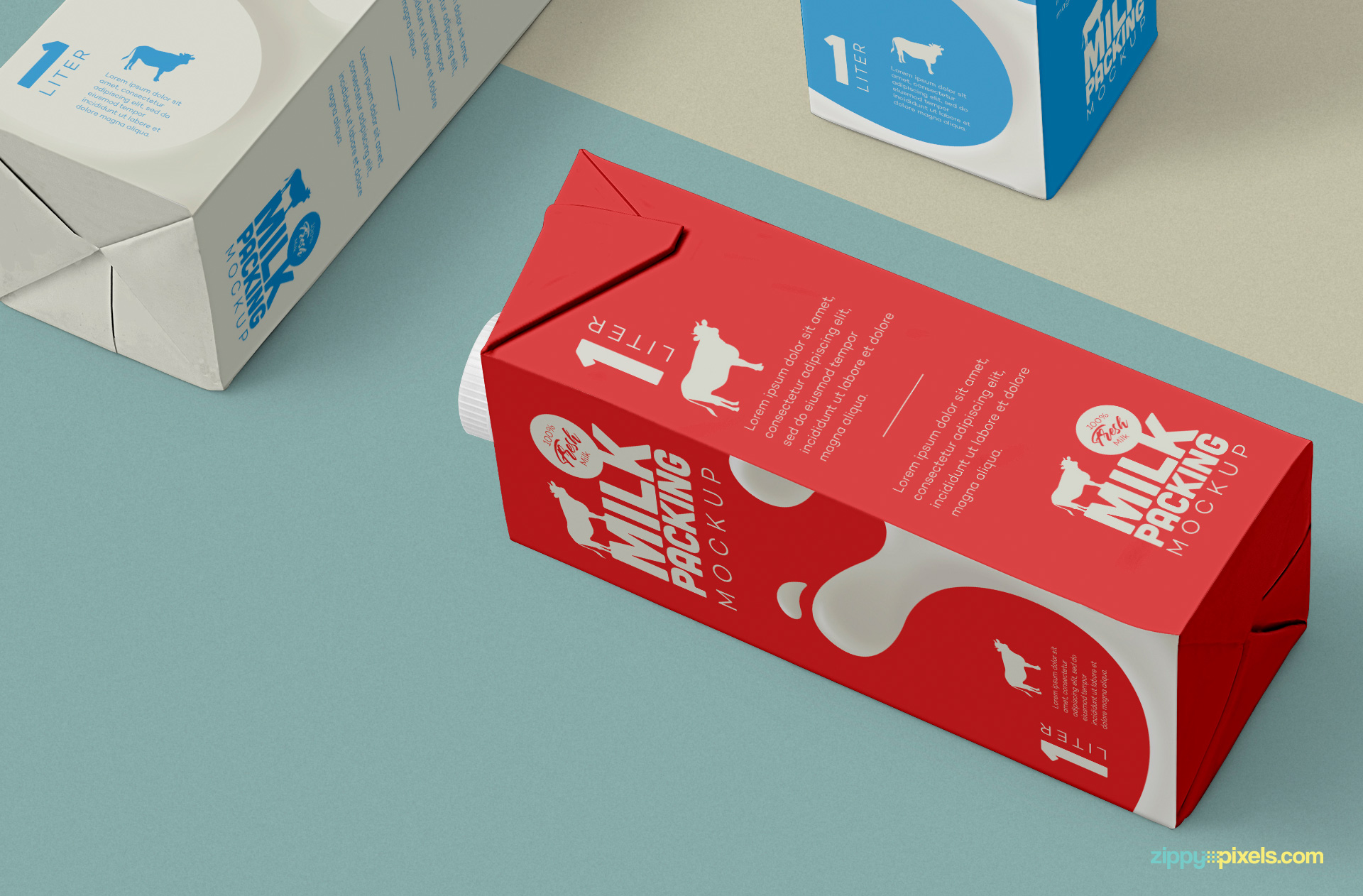 Milk carton lying on floor.