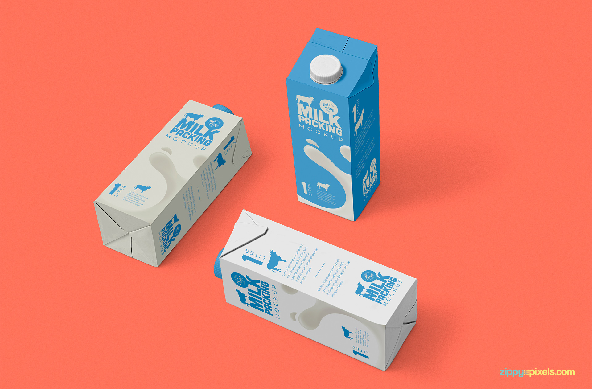 Elegantly designed milk packaging mockup.