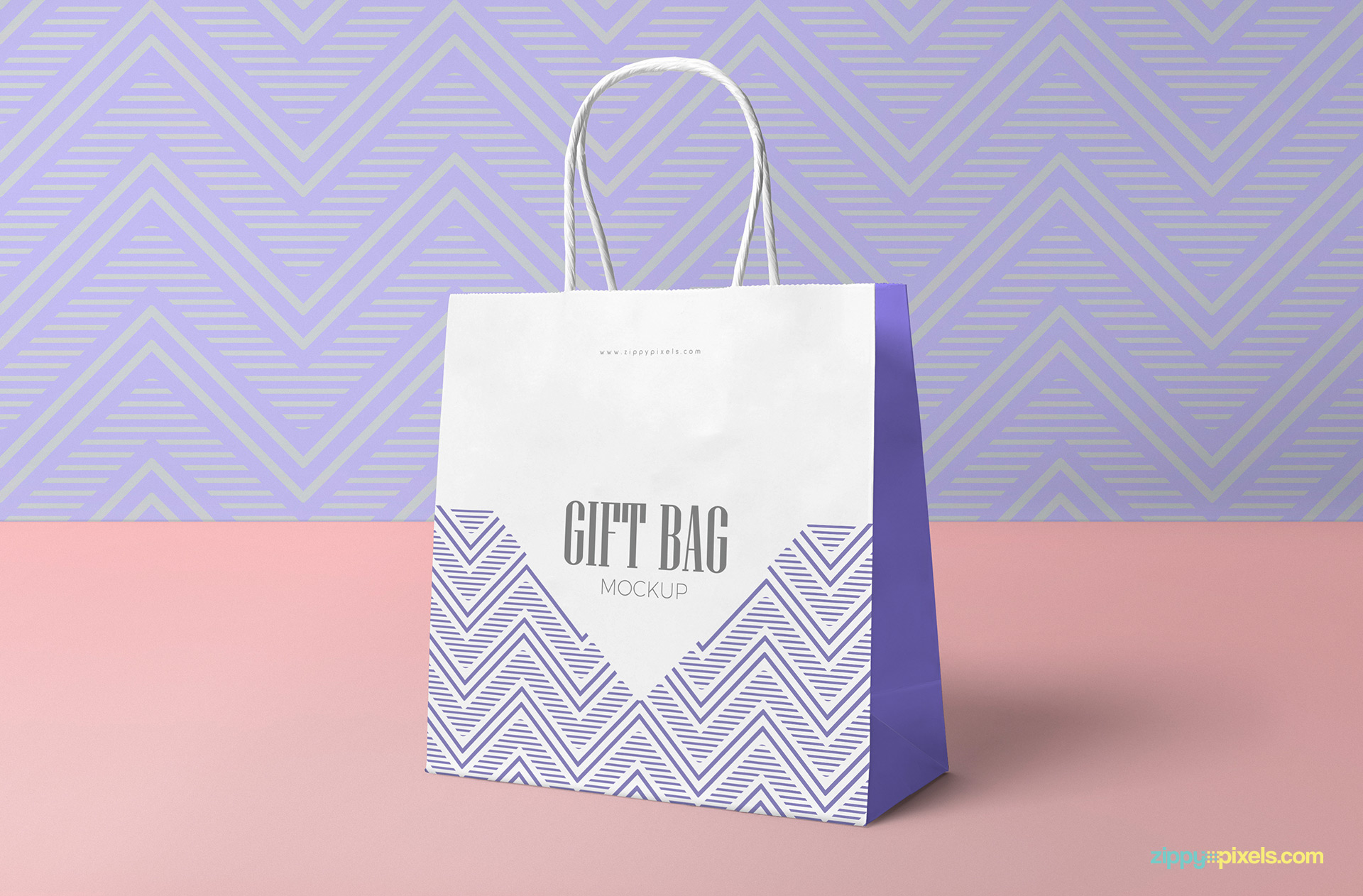 Changeable background of gift bag mockup.