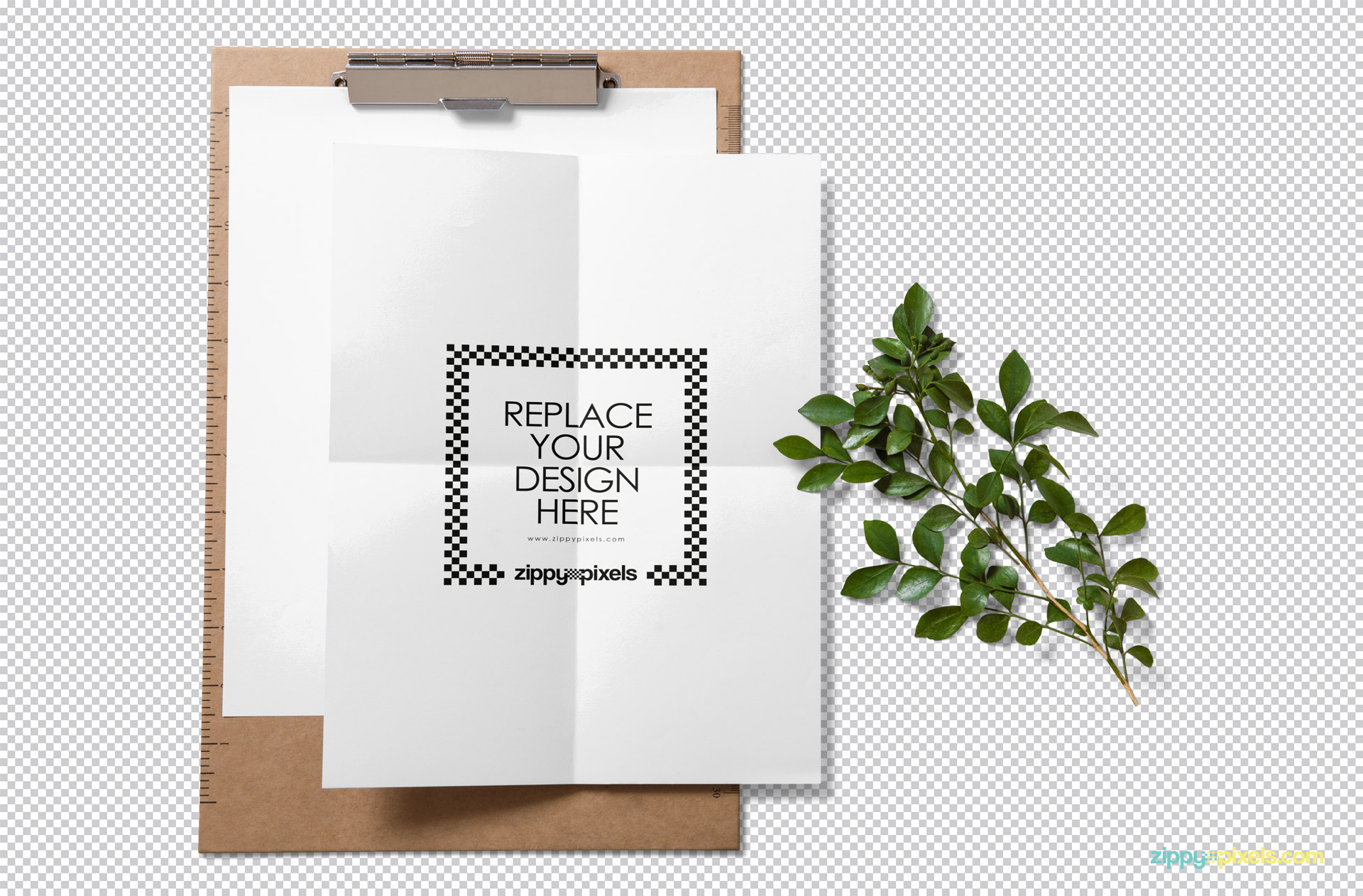 Use Photoshop to replace your designs in this paper mockup.