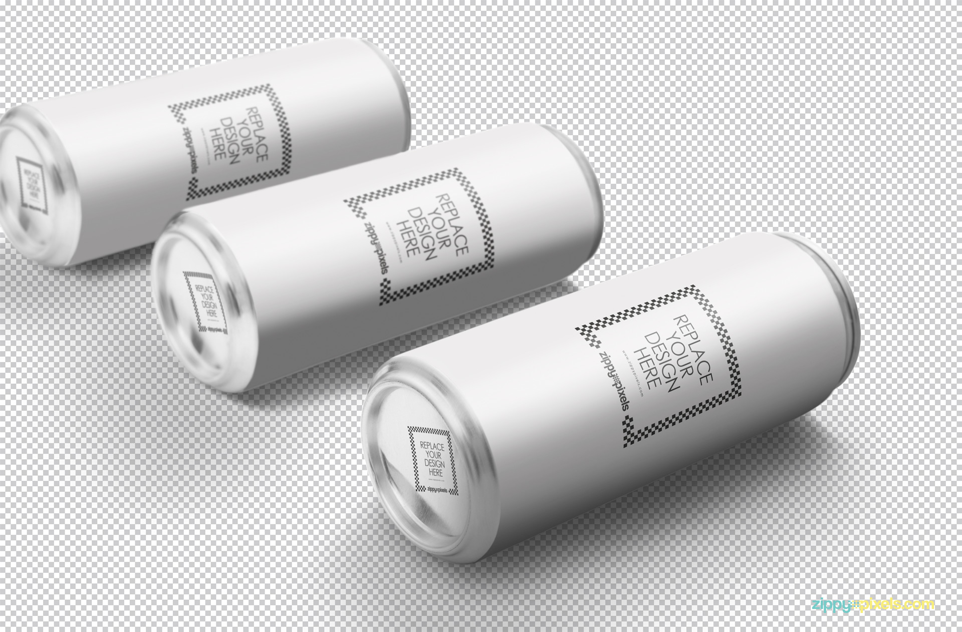 Three plain soda can mockup isolate with greyscale background.
