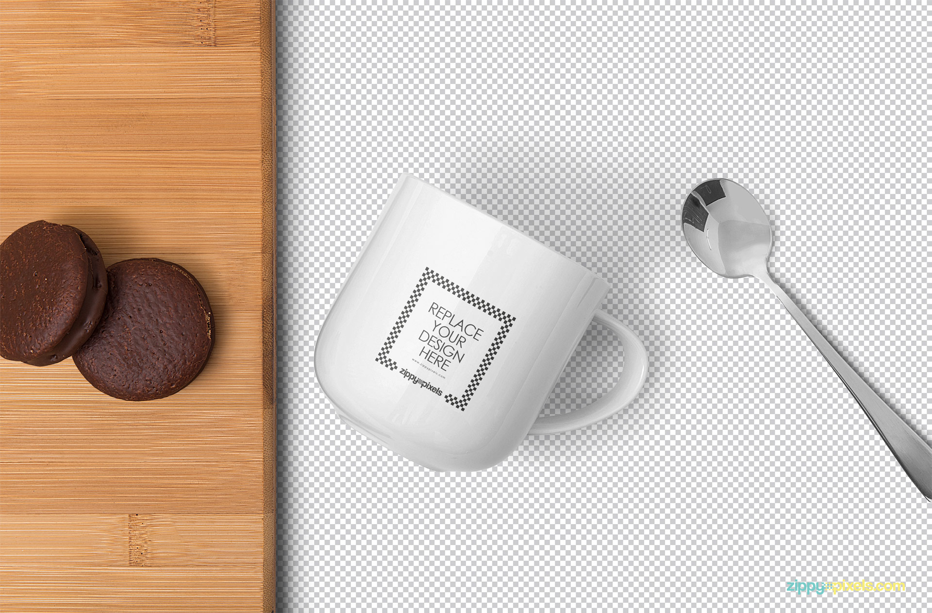 White mug mockup showing replaceable design option.
