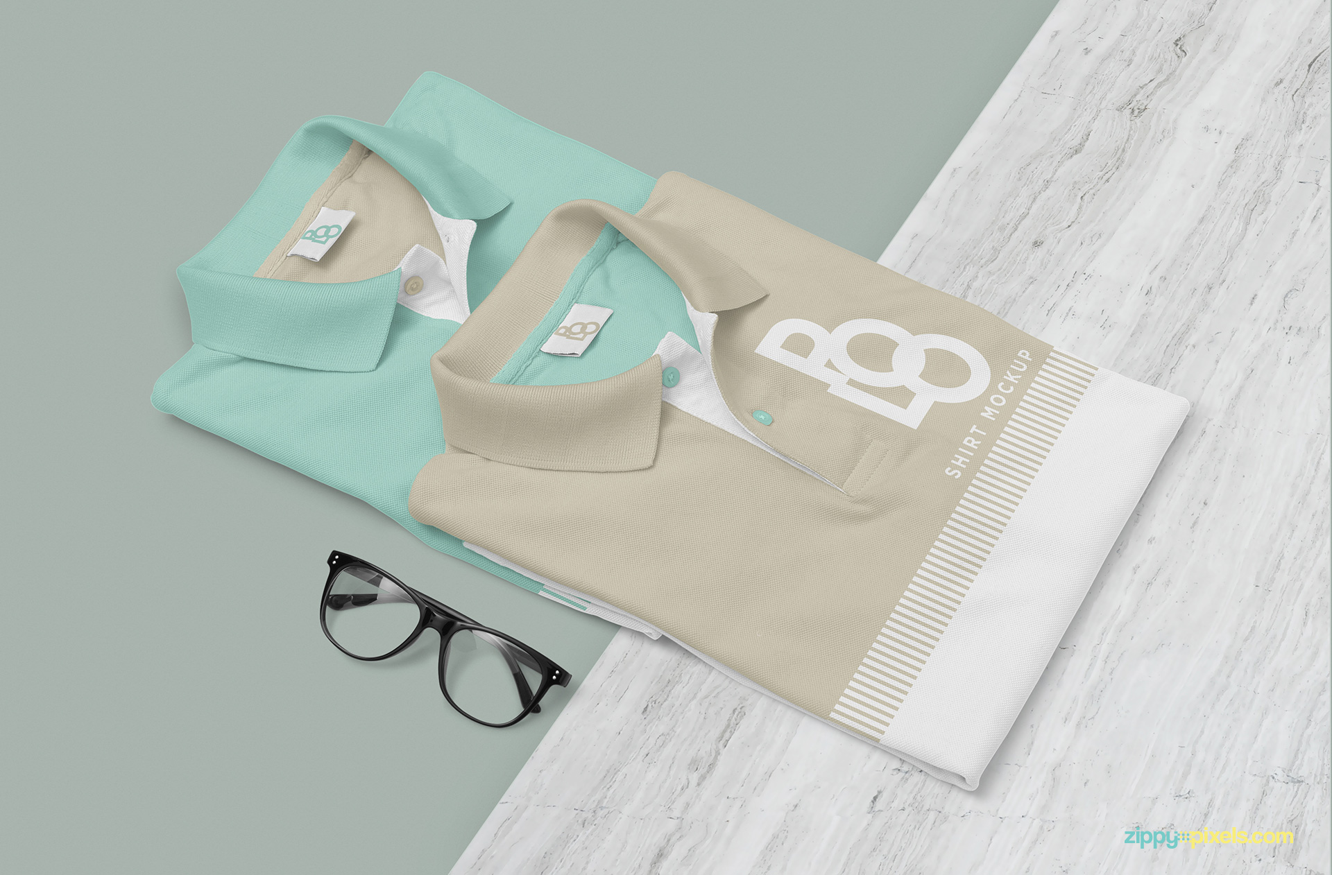 Free polo shirt mockup PSD.