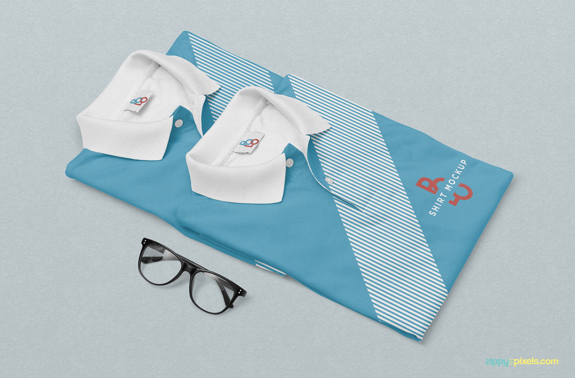 Attractive polo shirts mockup.
