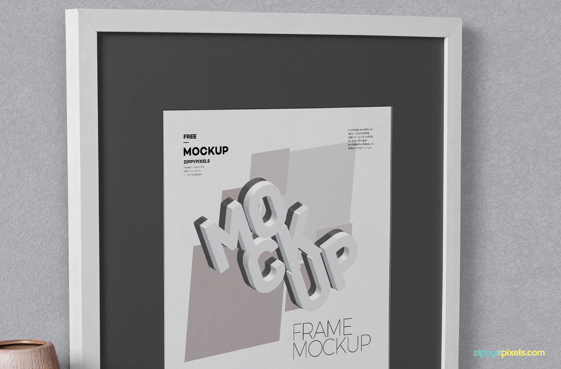 Zoom in view of poster frame mockup.