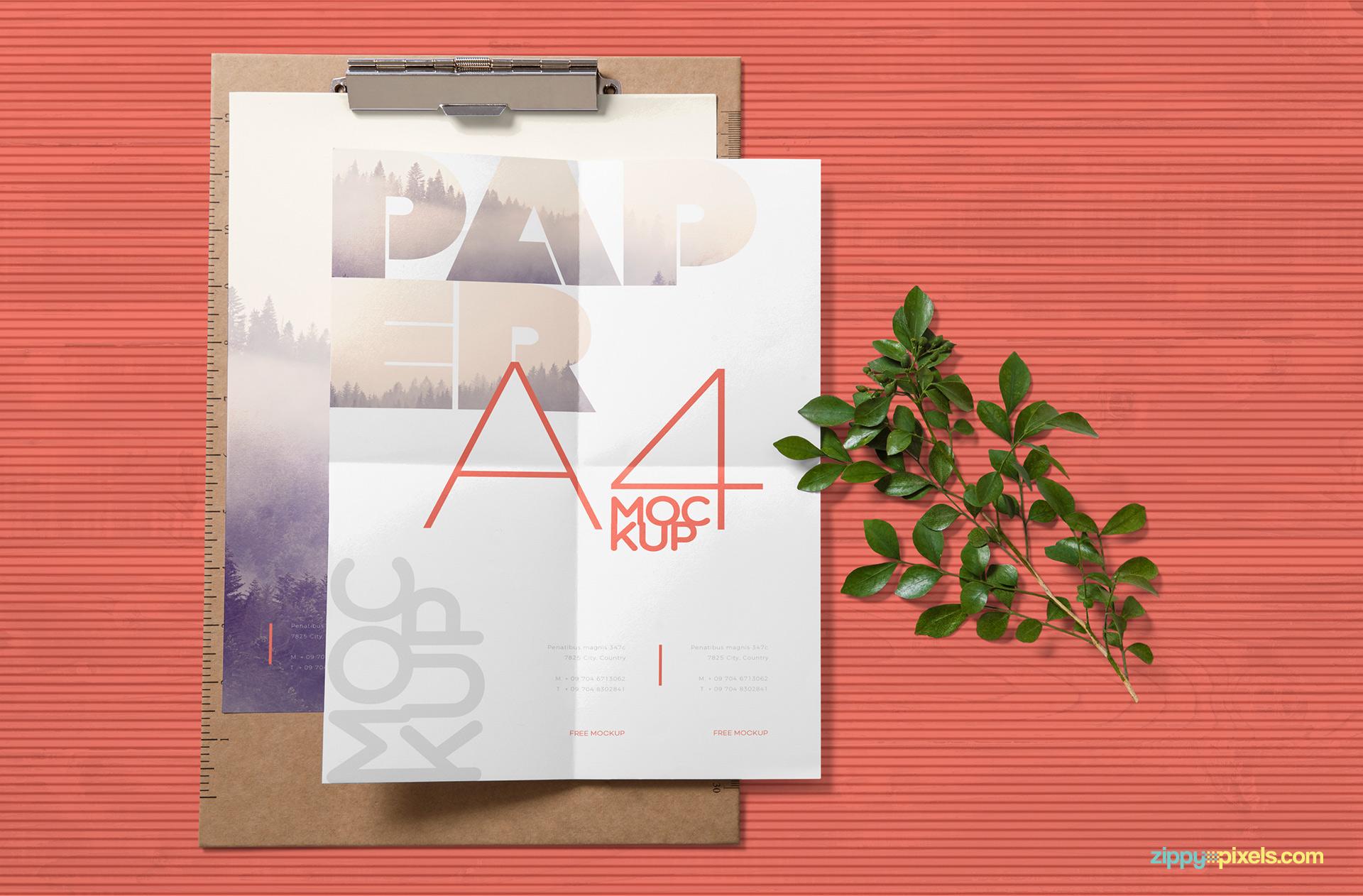 Folded A4 size letter mockup.