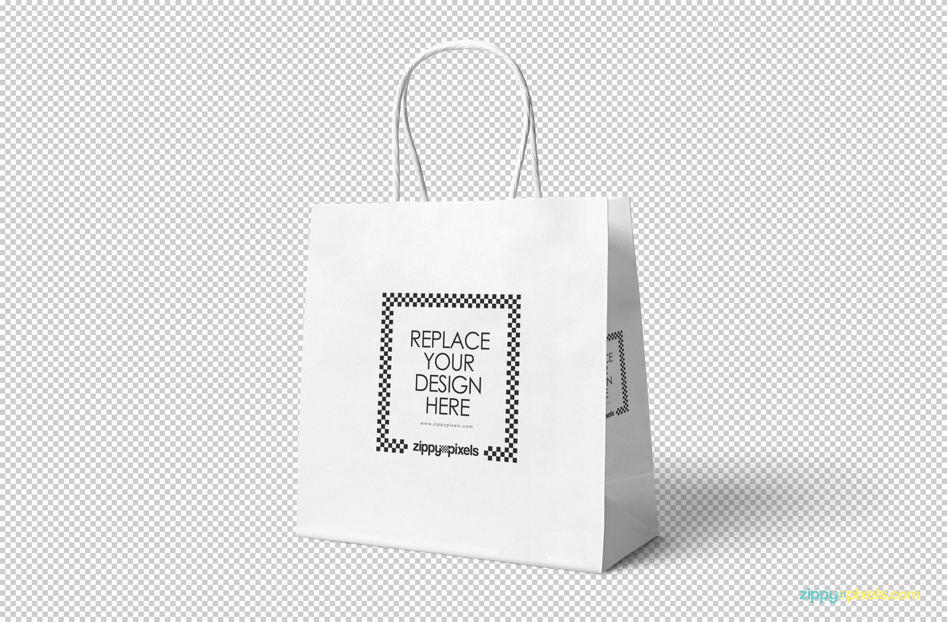 Gift bag mockup showing replaceable design option.