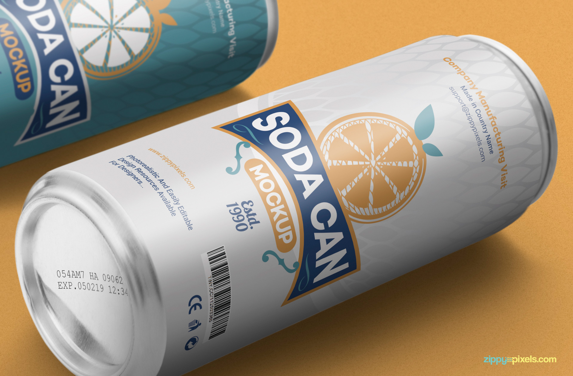 Close up view of soda can mockup.