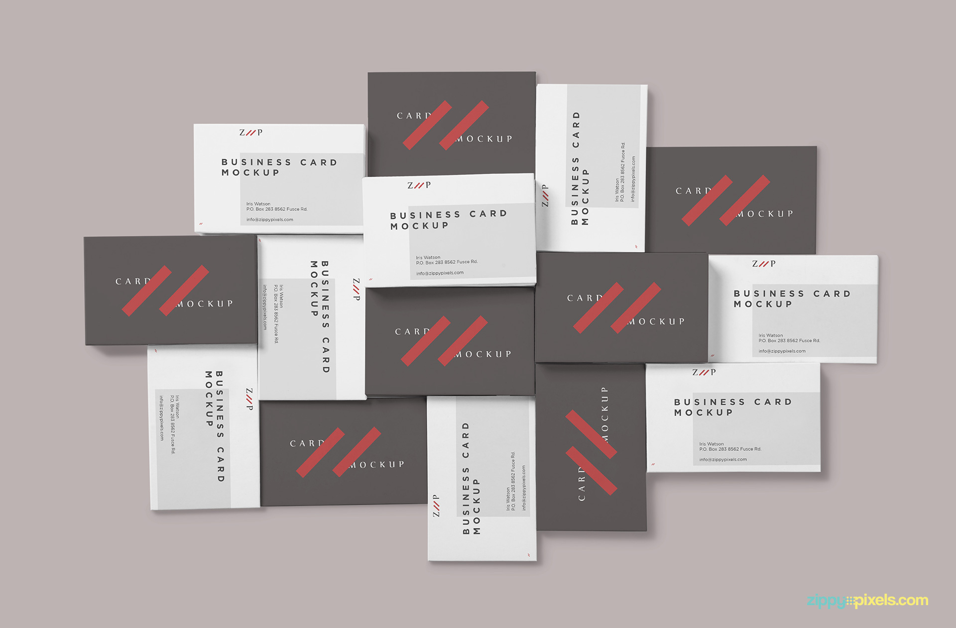 15 different stacks of business card mockup.
