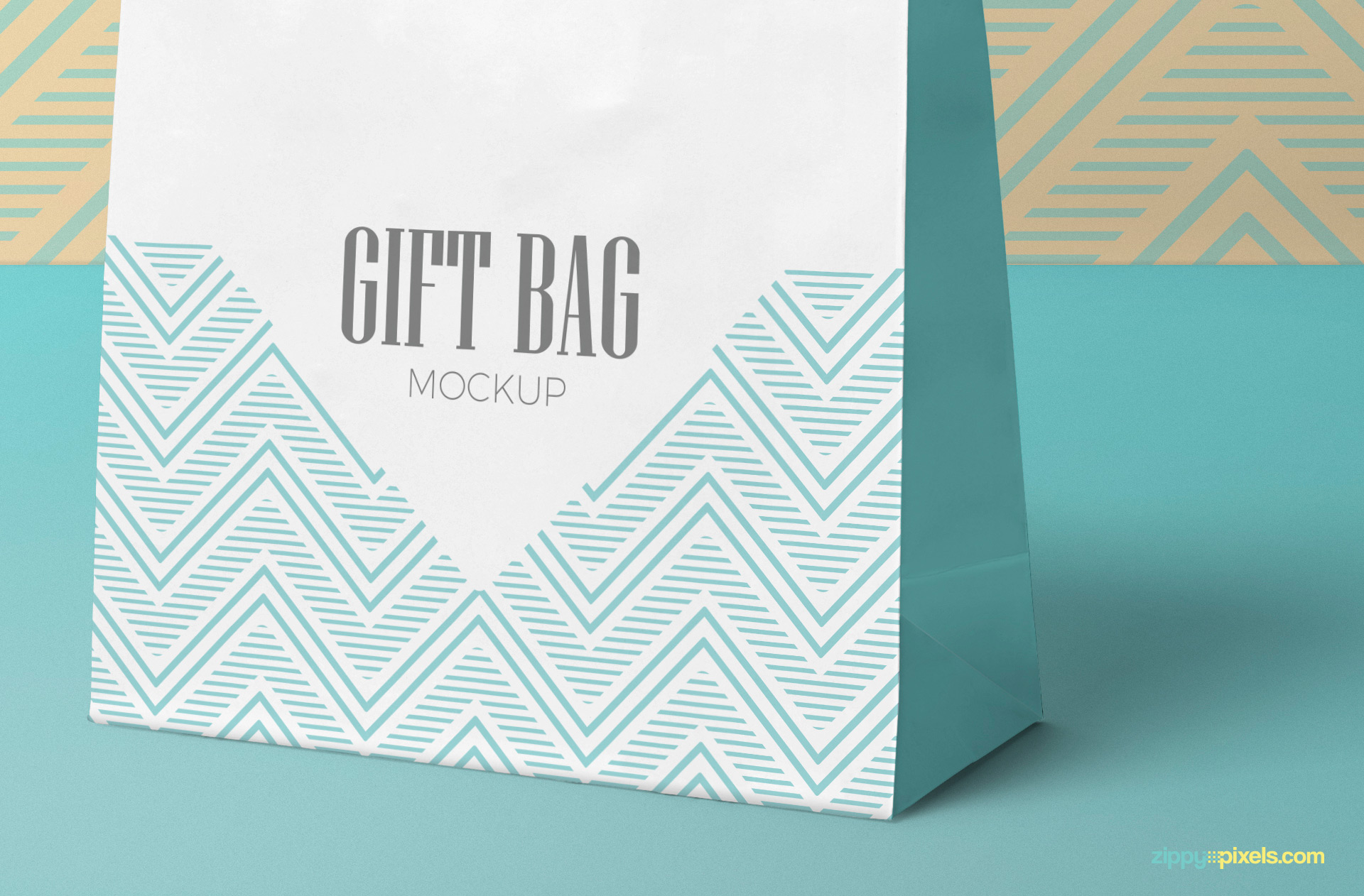 Gorgeous gift bag mockup in standing position.
