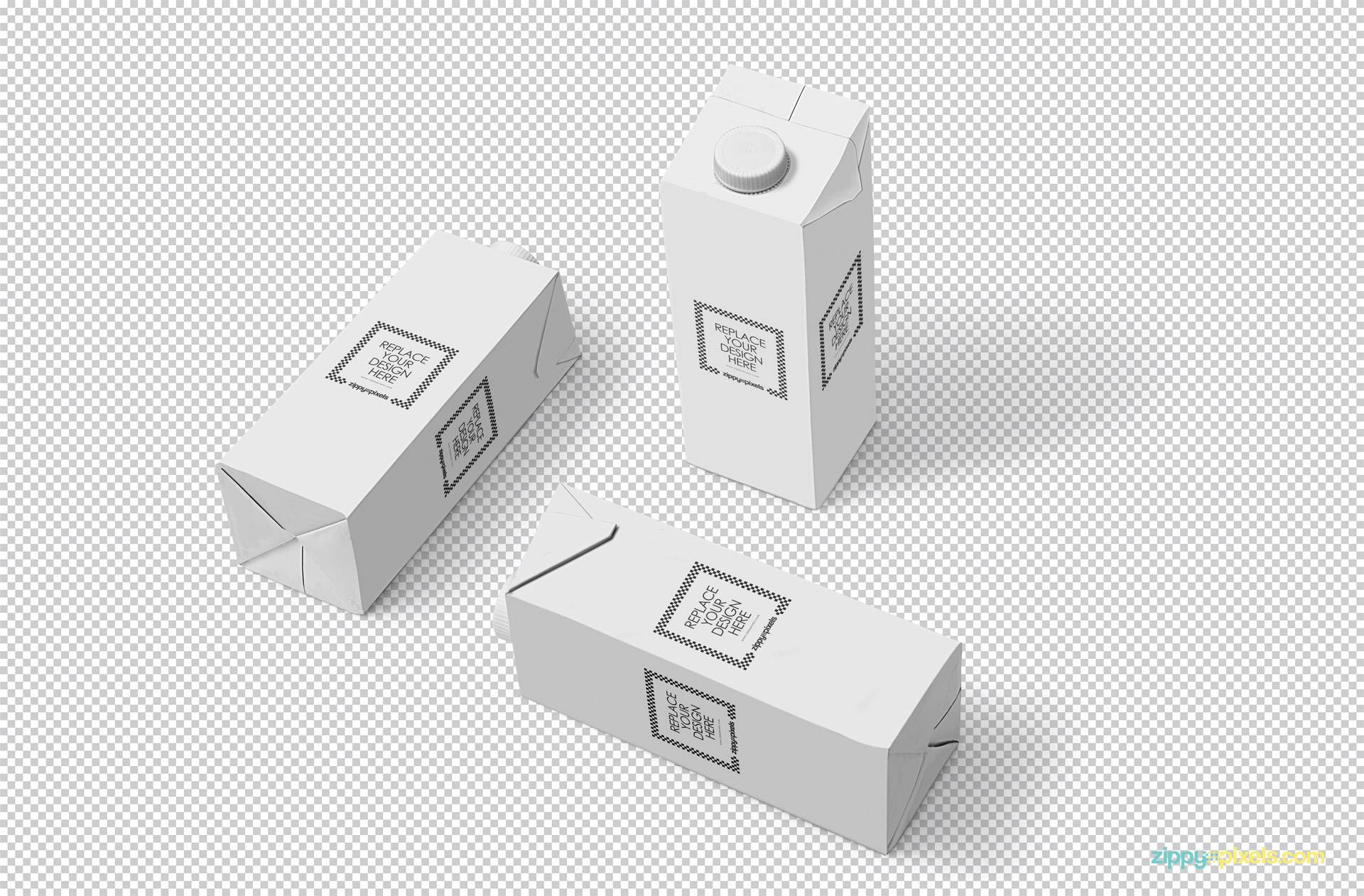 Three editable packaging boxes on greyscale background.
