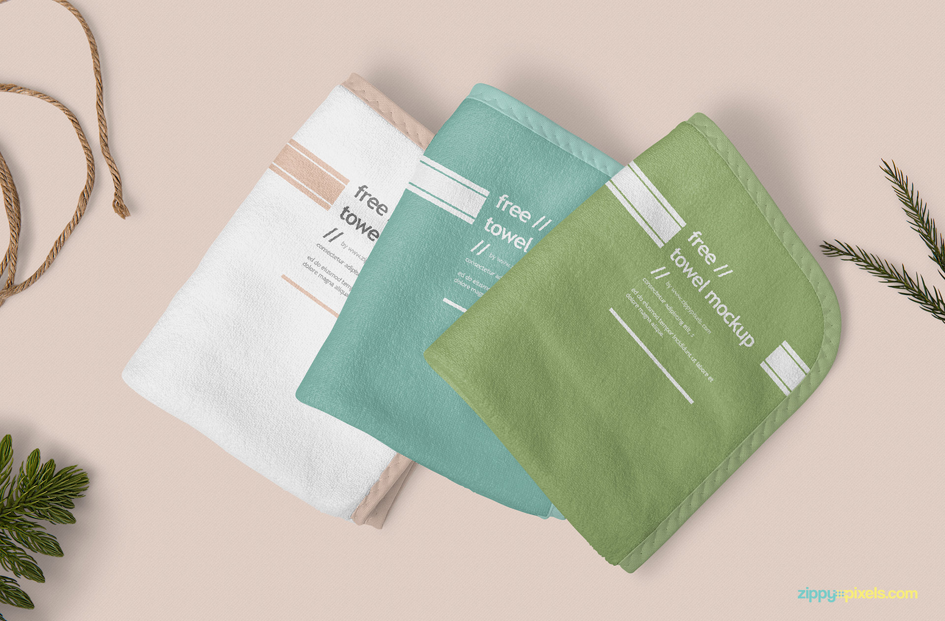 Three gorgeous hand towel mockup.