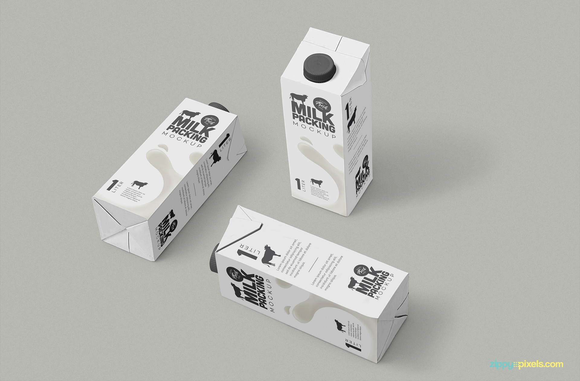 Three milk carton placed on customizable background.