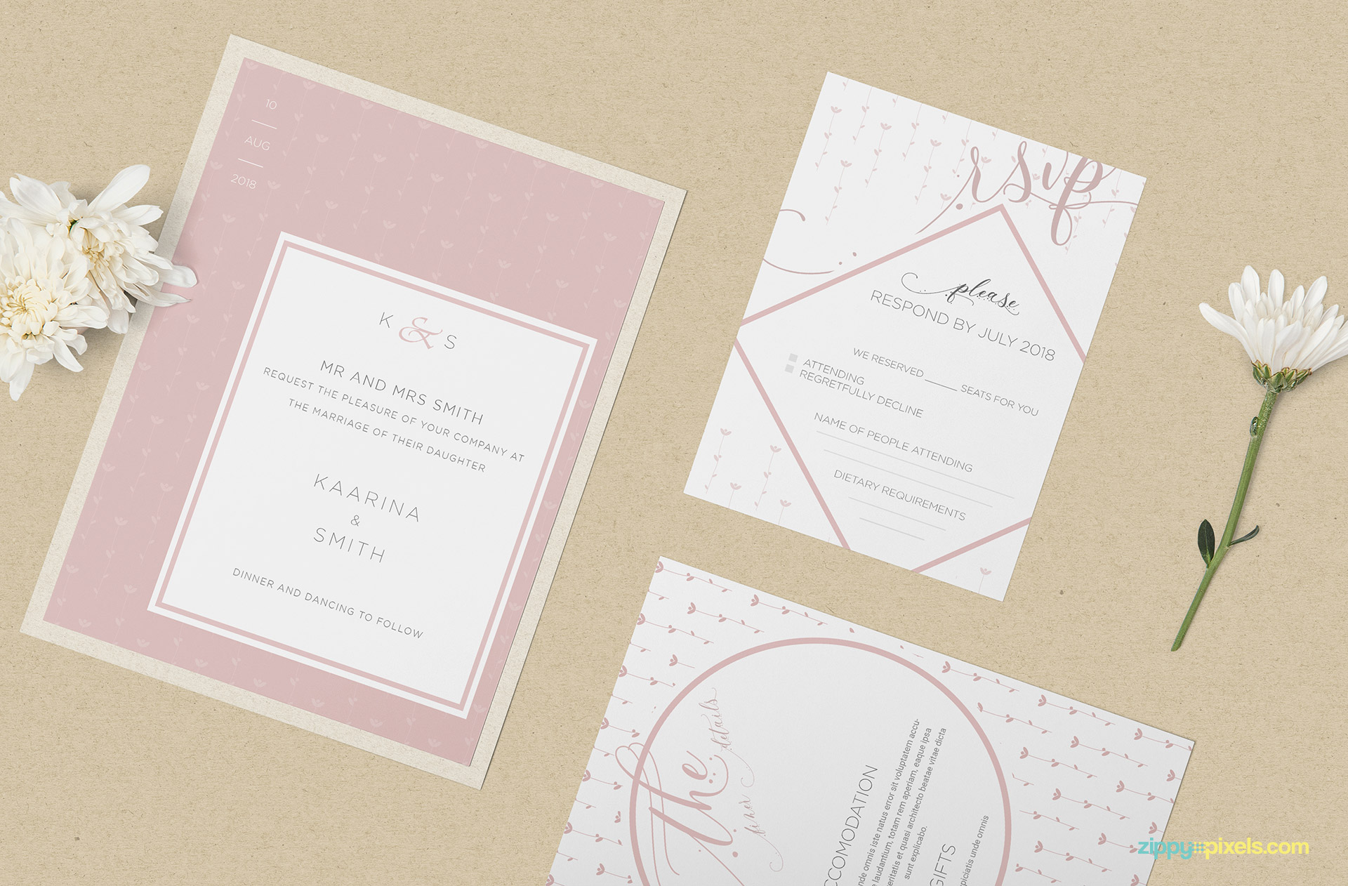 Three gorgeous wedding cards mockup.