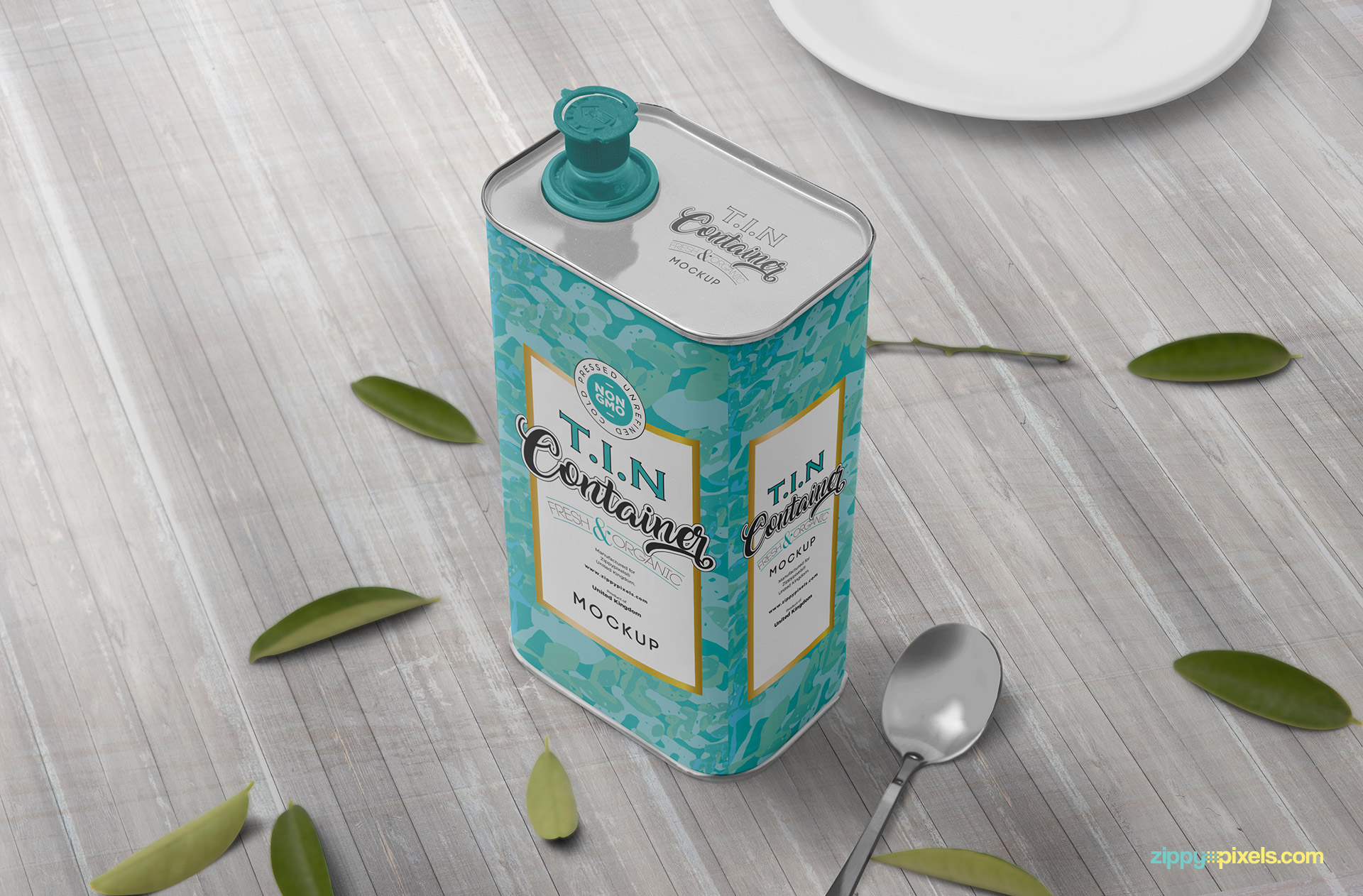 Tin container mockup with wooden background.
