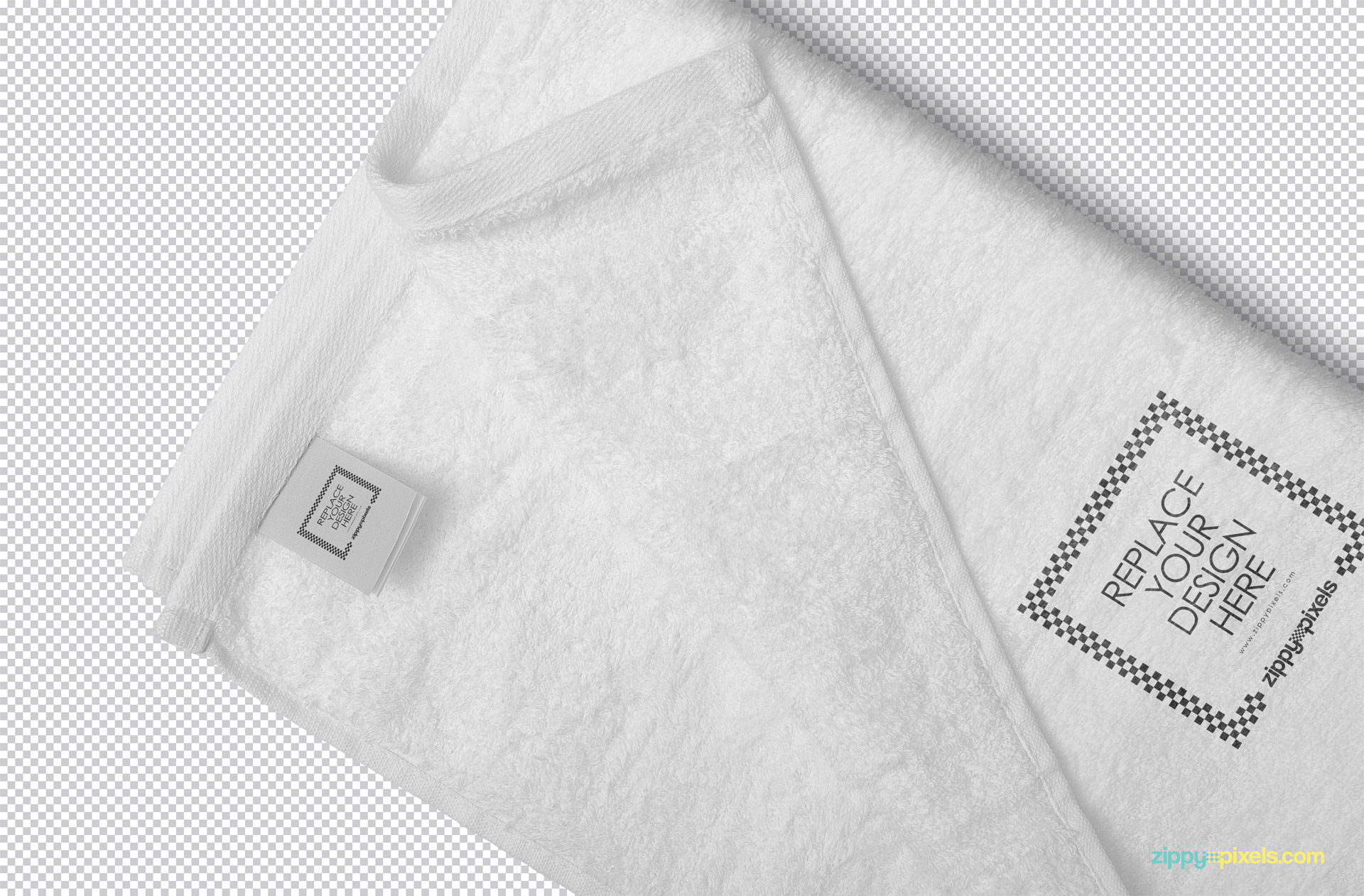 Towel mockup PSD showing replaceable design option.