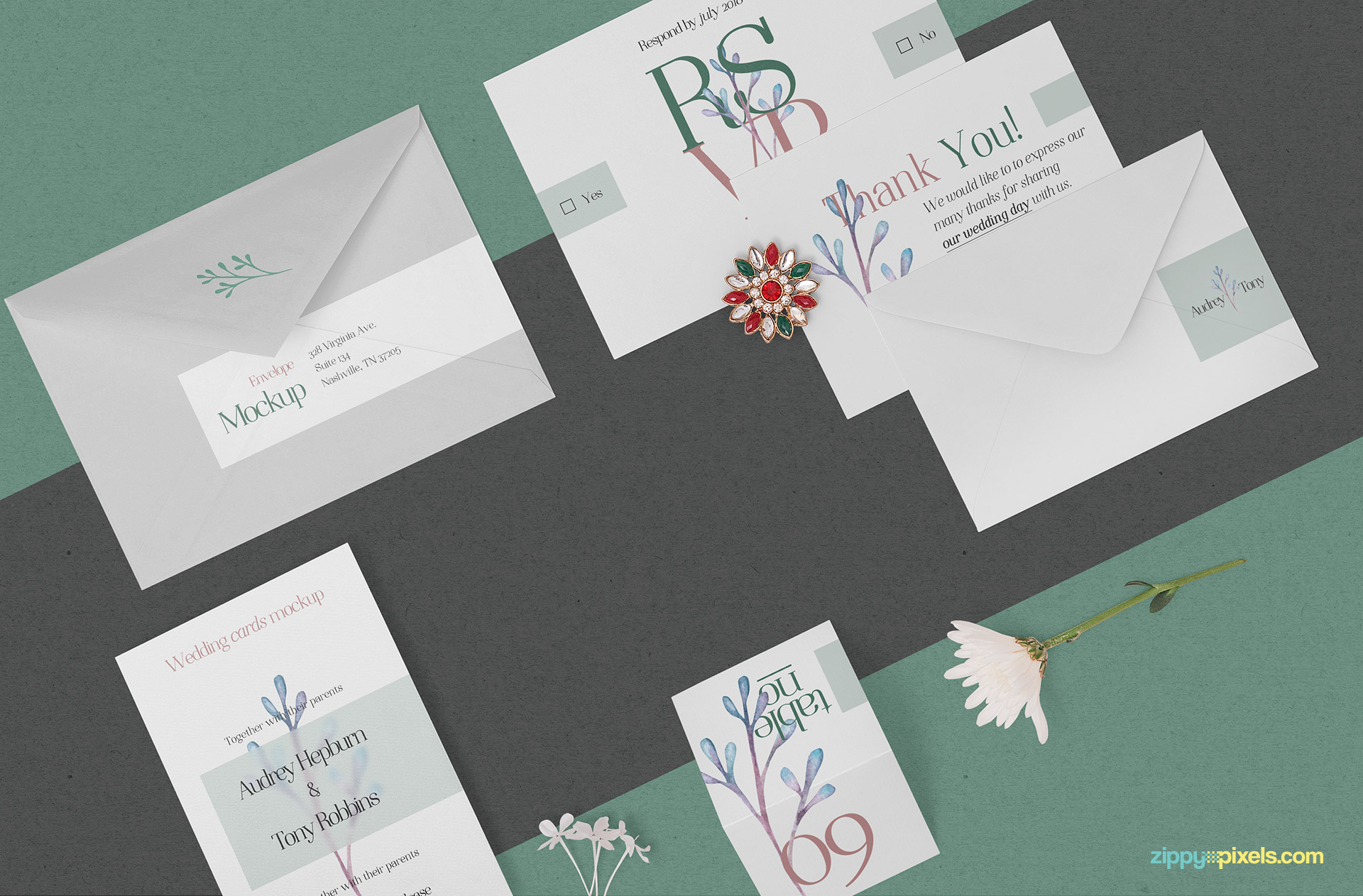 Beautiful wedding card mockup.